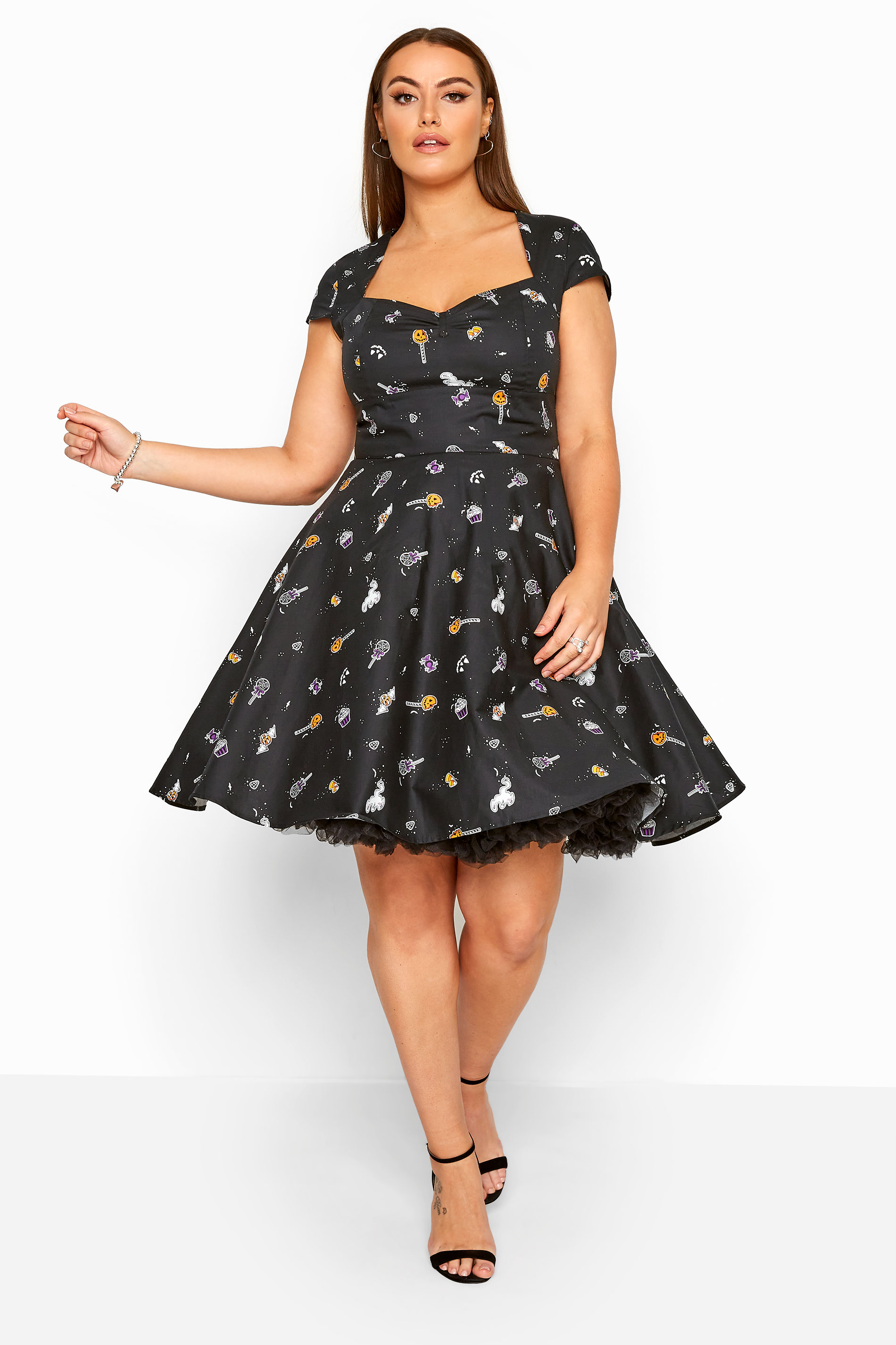 HELL BUNNY Black 'Trick Or Treat' Dress