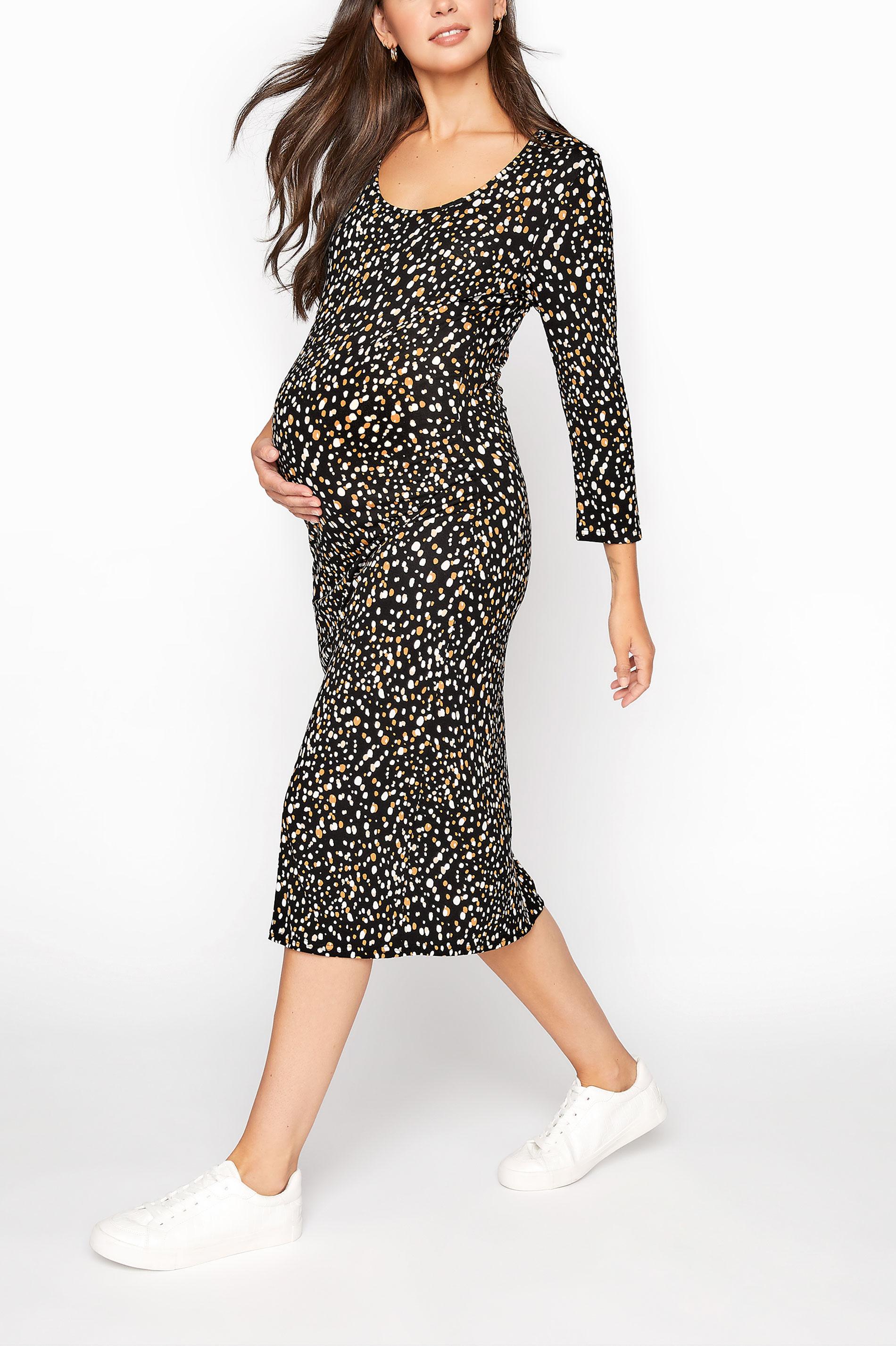 LTS Maternity Black Spot Bodycon Midi Dress_A.jpg