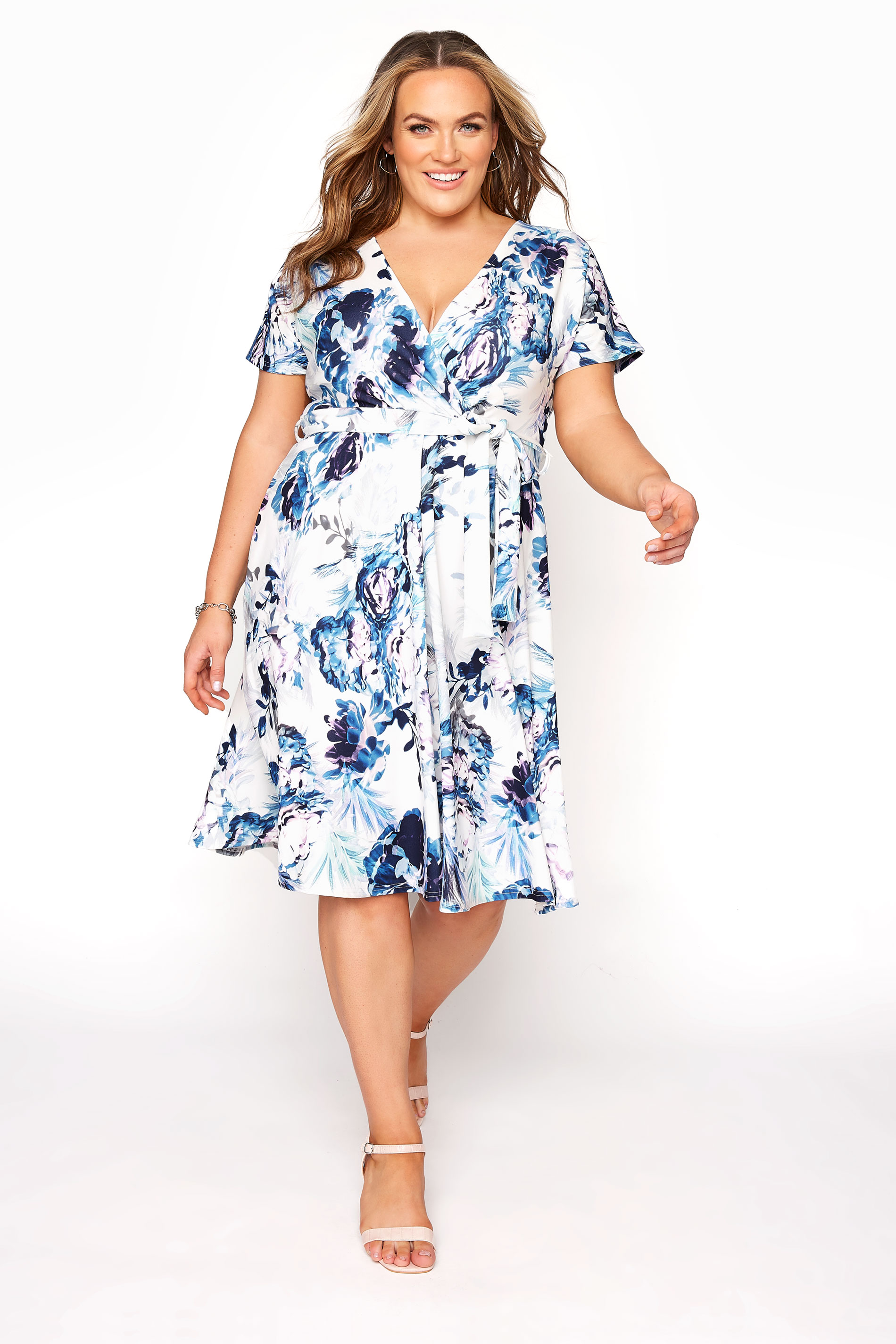 YOURS LONDON Blue Floral Skater Dress