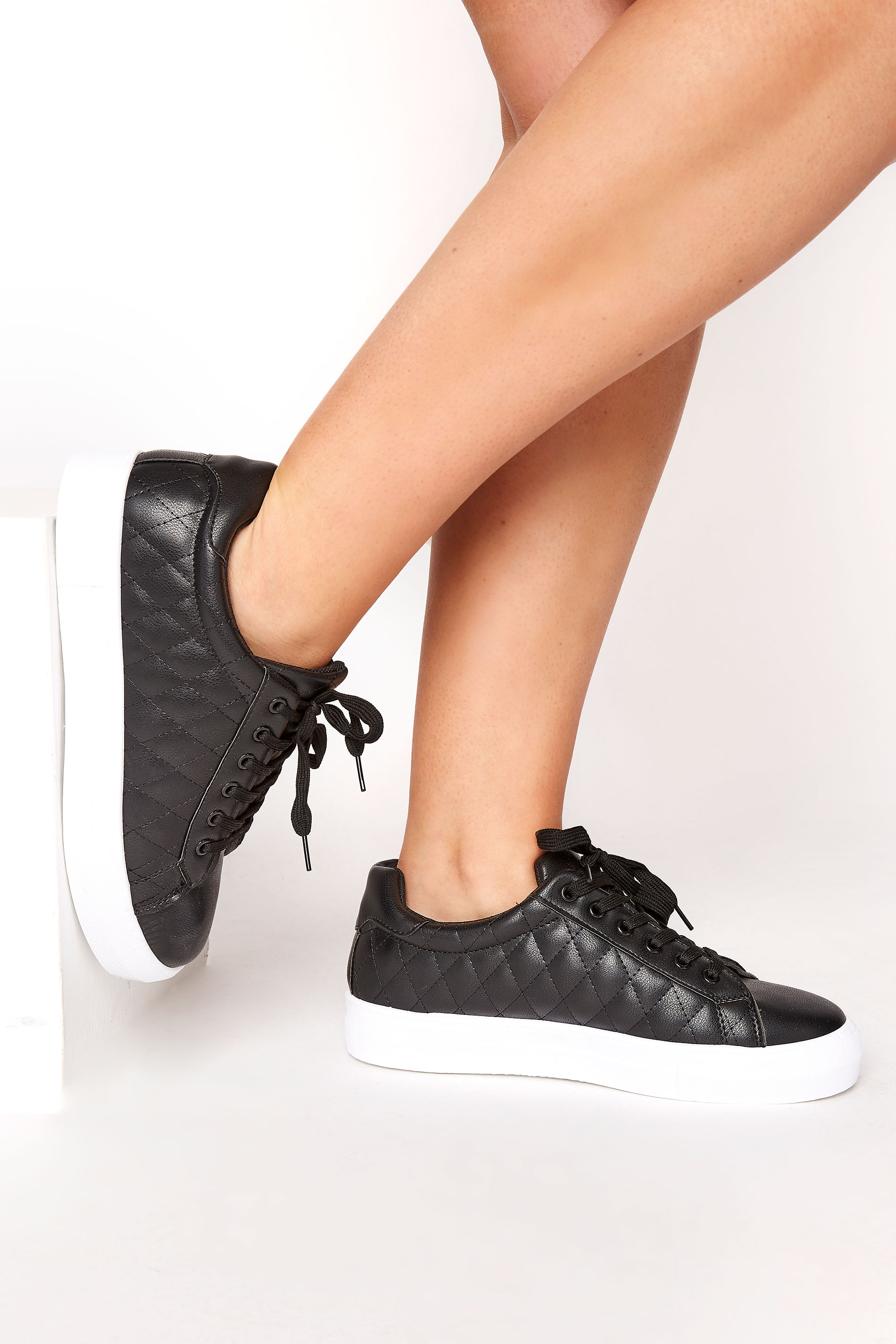LIMITED COLLECTION Black Quilted Trainers In Wide Fit