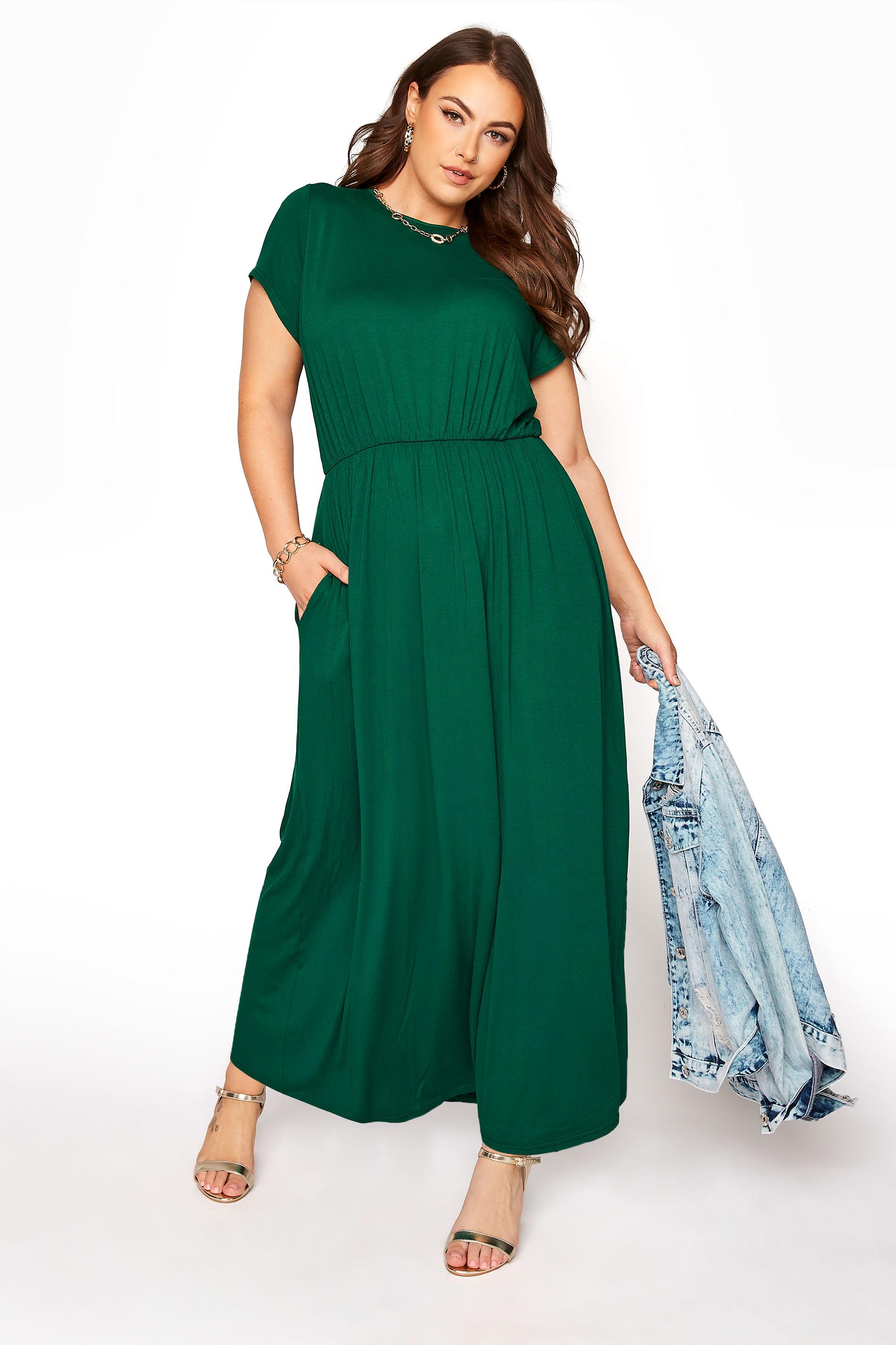 YOURS LONDON Forest Green Pocket Midaxi Dress_B.jpg