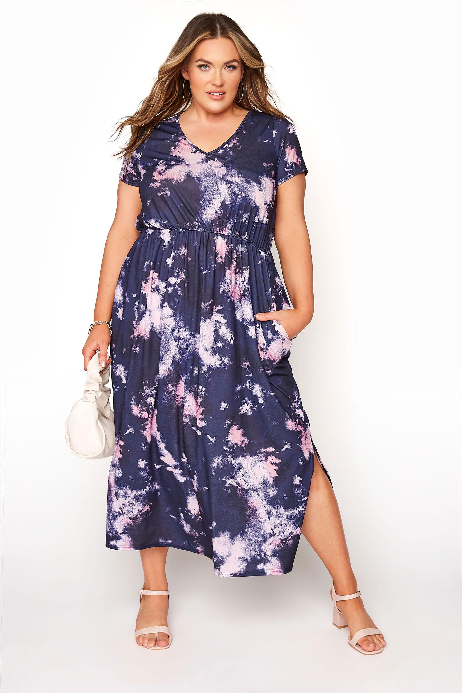 YOURS LONDON Navy Tie Dye Pocket Midi Dress
