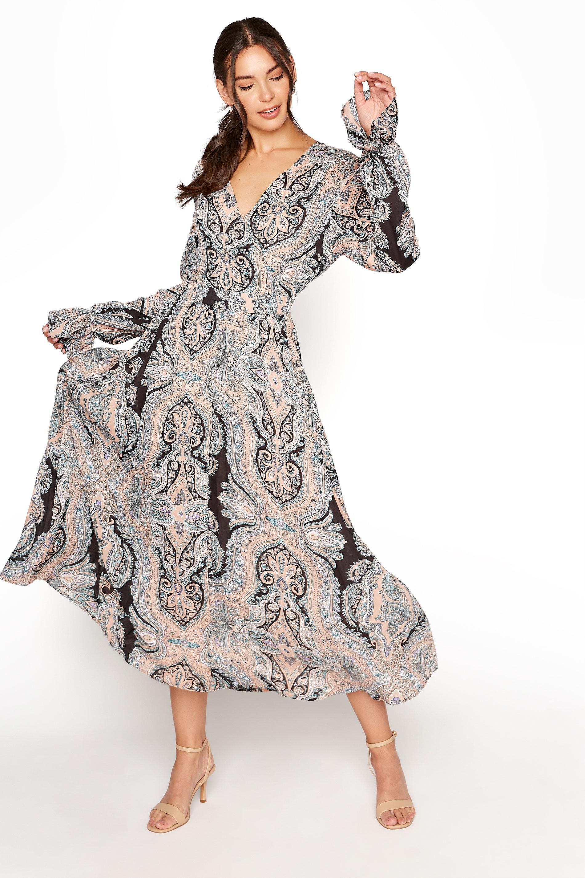 LTS Natural Paisley Print Long Sleeve Pleat Dress