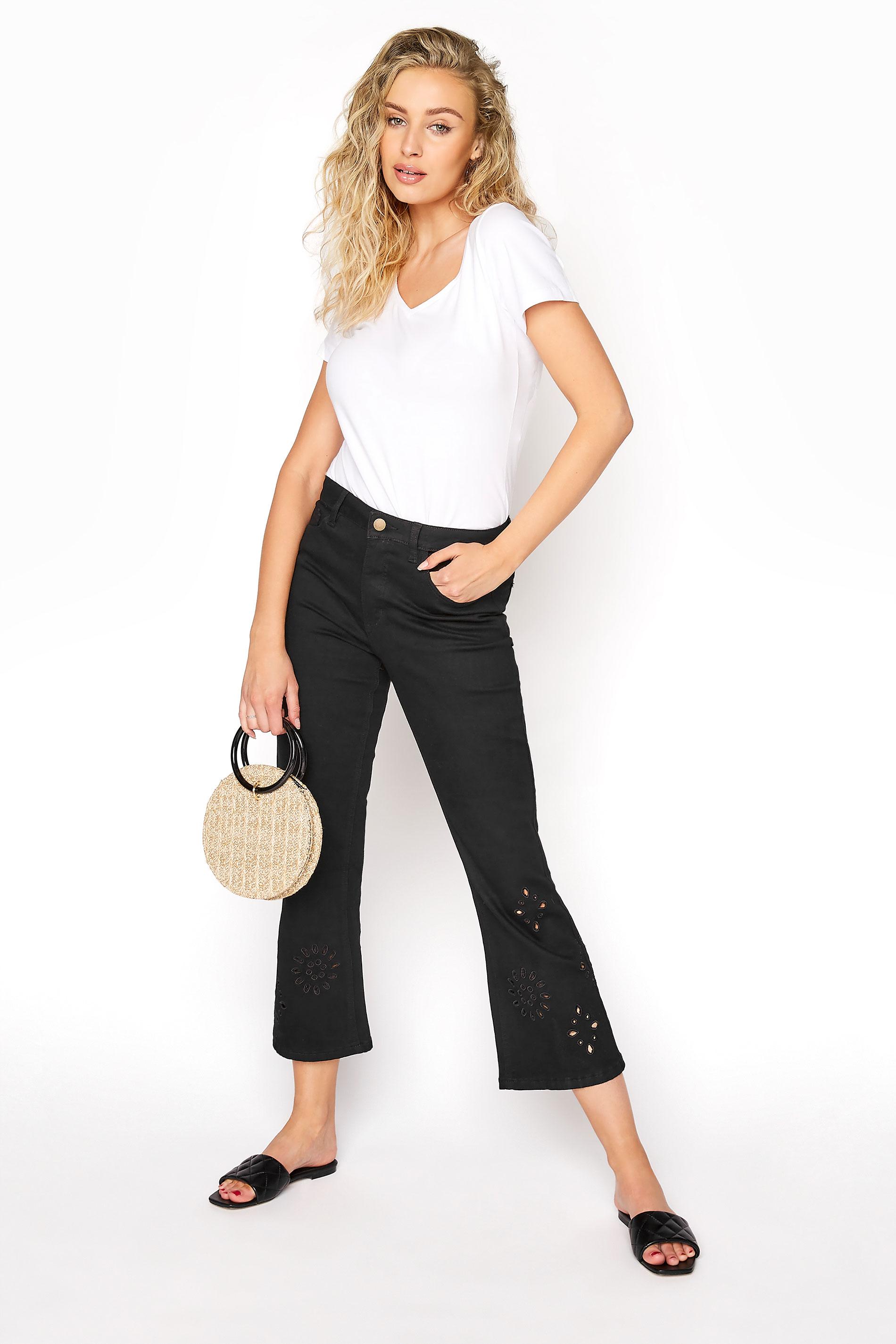 Black Embroidered Hem Cropped Jeans