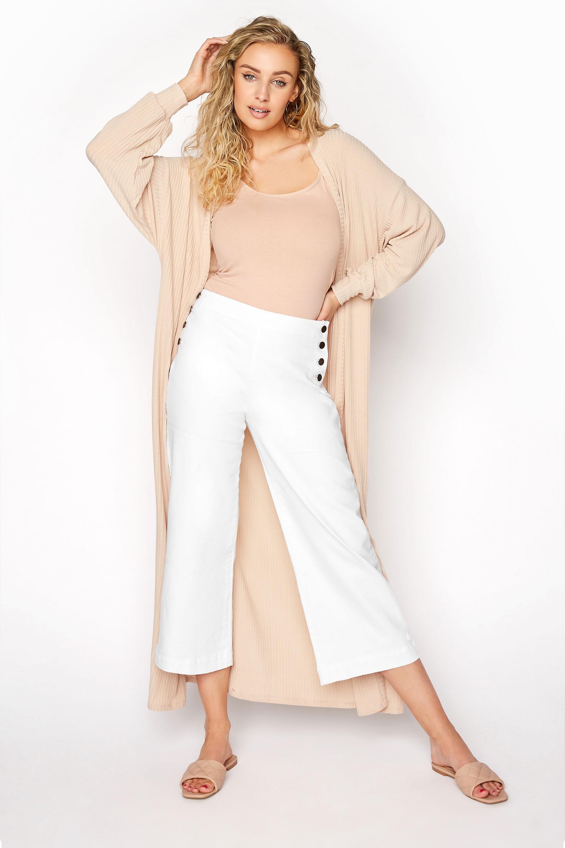 White Sailor Button Wide Leg Crop Jean