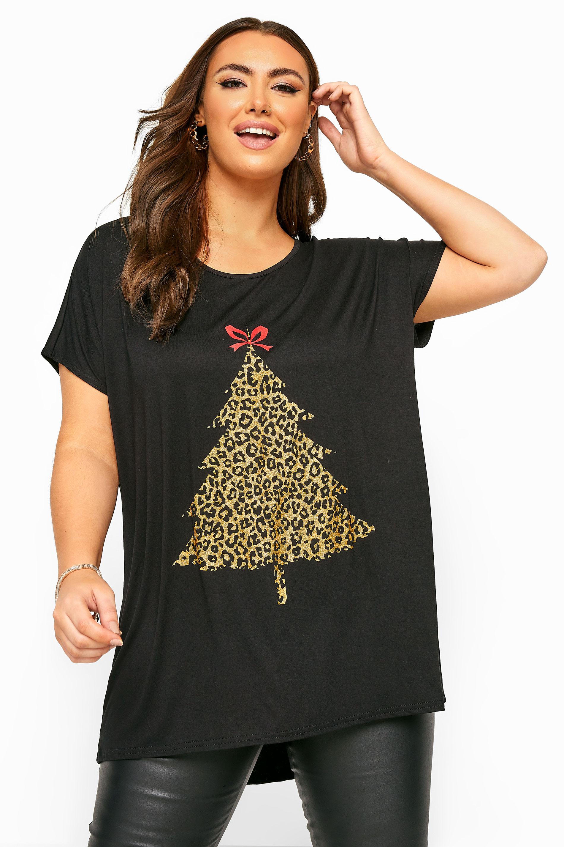 Black Leopard Christmas Tree Dipped Hem T-Shirt