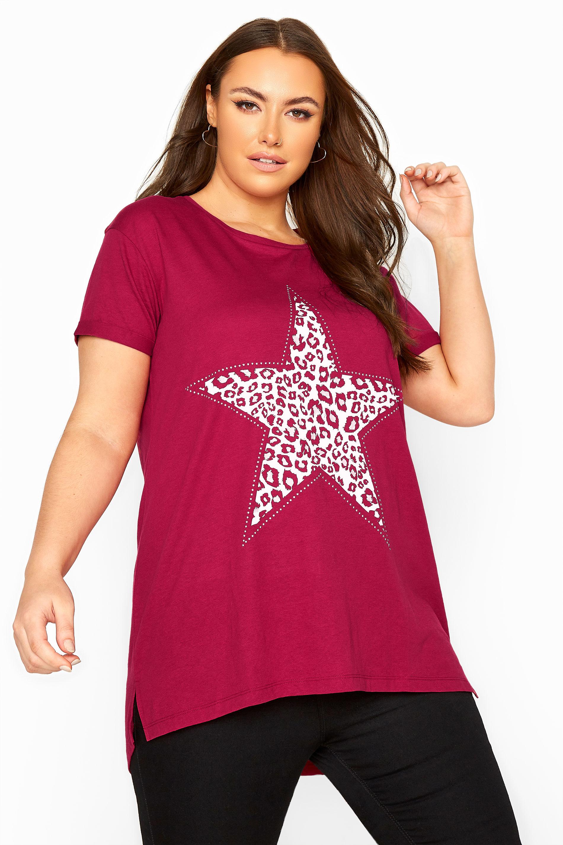 Berry Pink Animal Print Star Studded Top