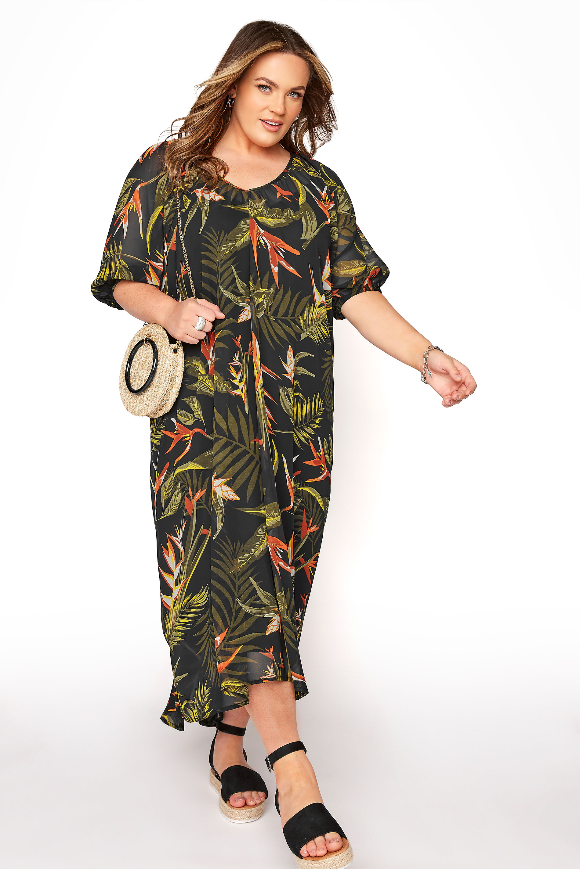 LIMITED COLLECTION Black Tropical Print Dress_A.jpg