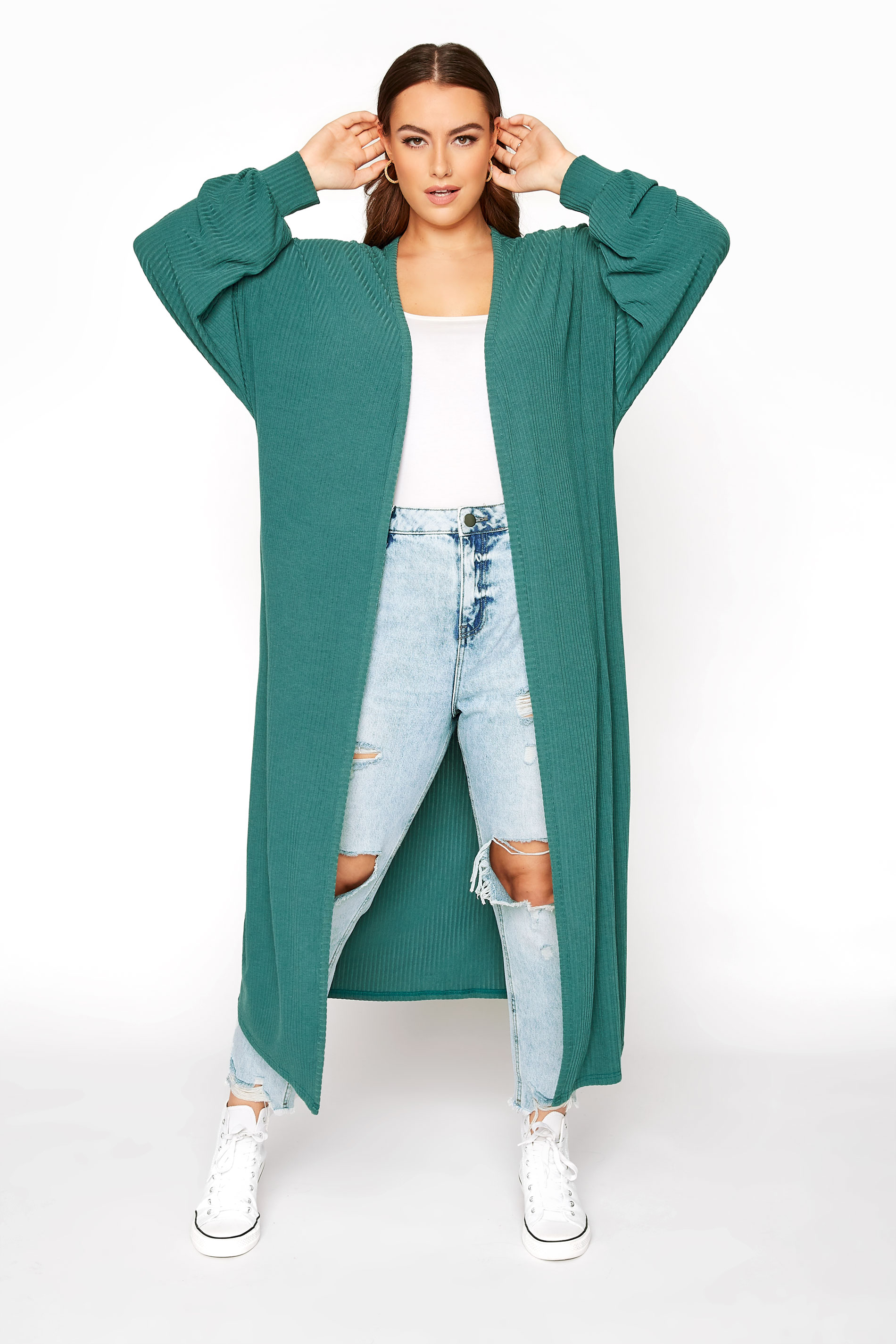 LIMITED COLLECTION Forest Green Ribbed Long Cardigan_A.jpg