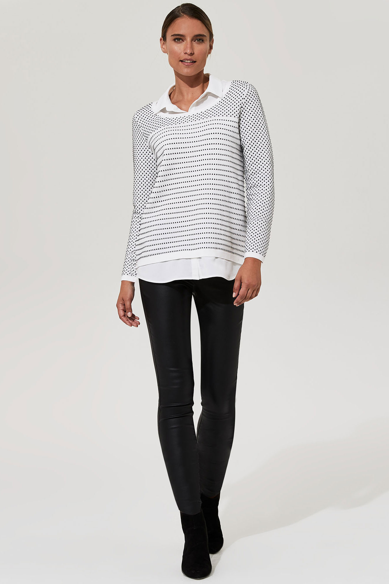 KARL LAGERFELD White Dotted Stripe Shirt Jumper