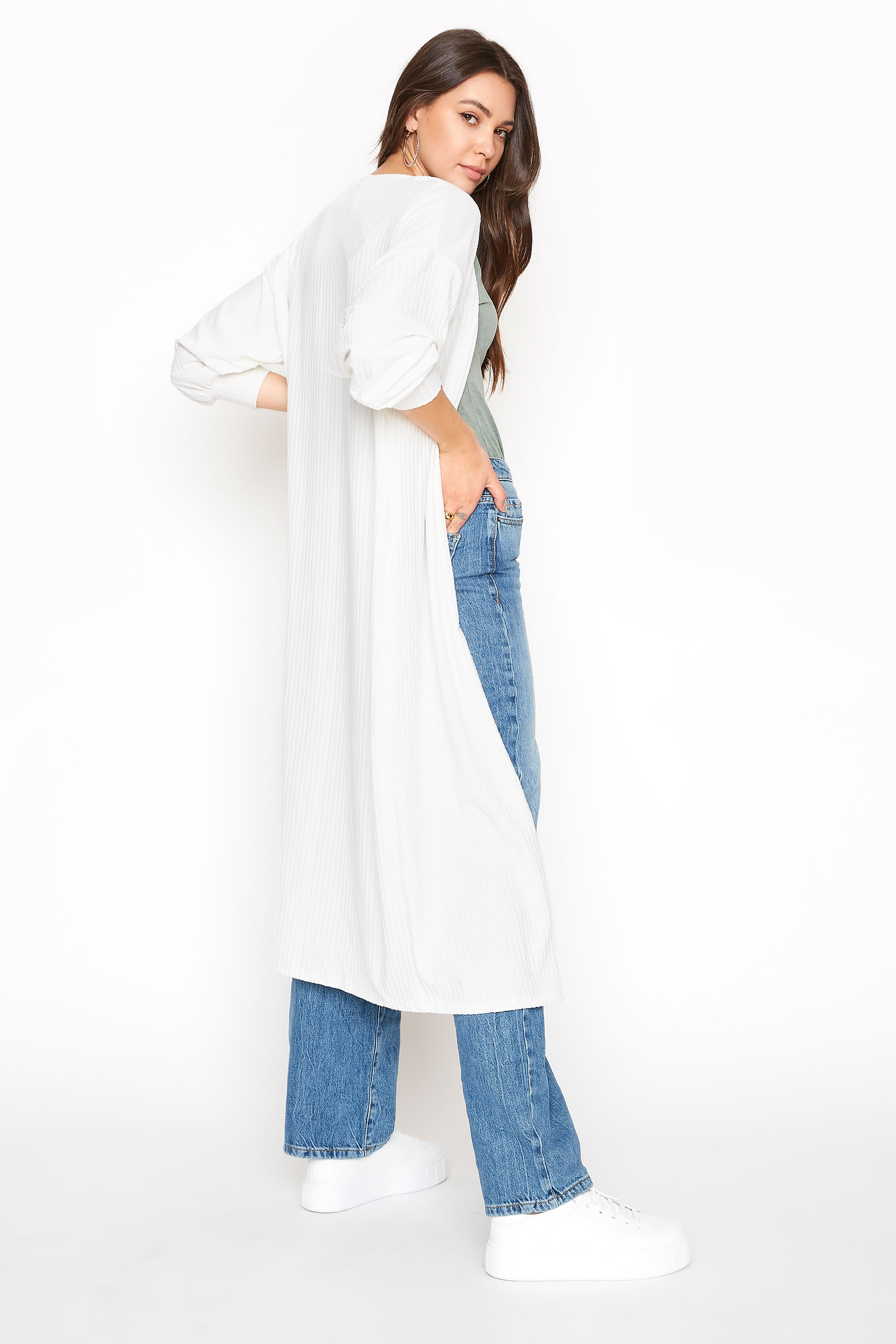 LTS White Balloon Sleeve Brushed Midi Cardigan