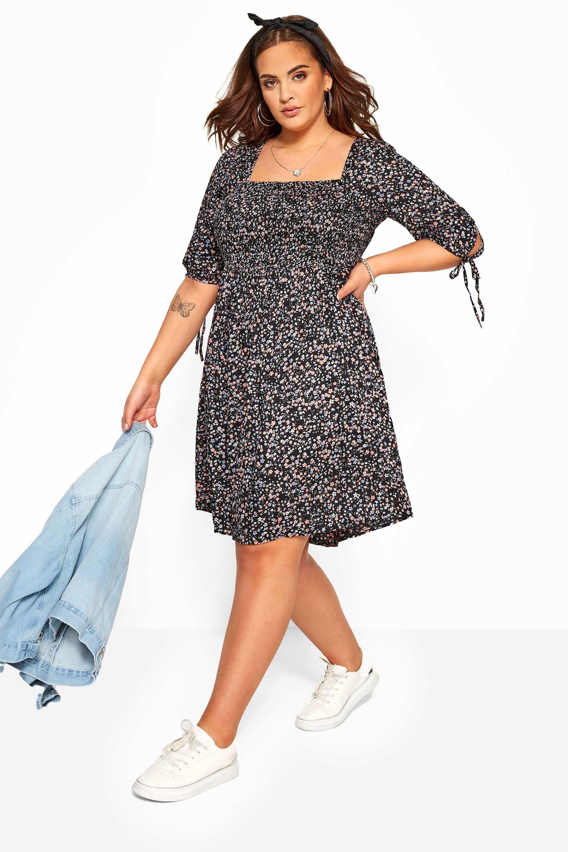 Navy Ditsy Floral Shirred Dress