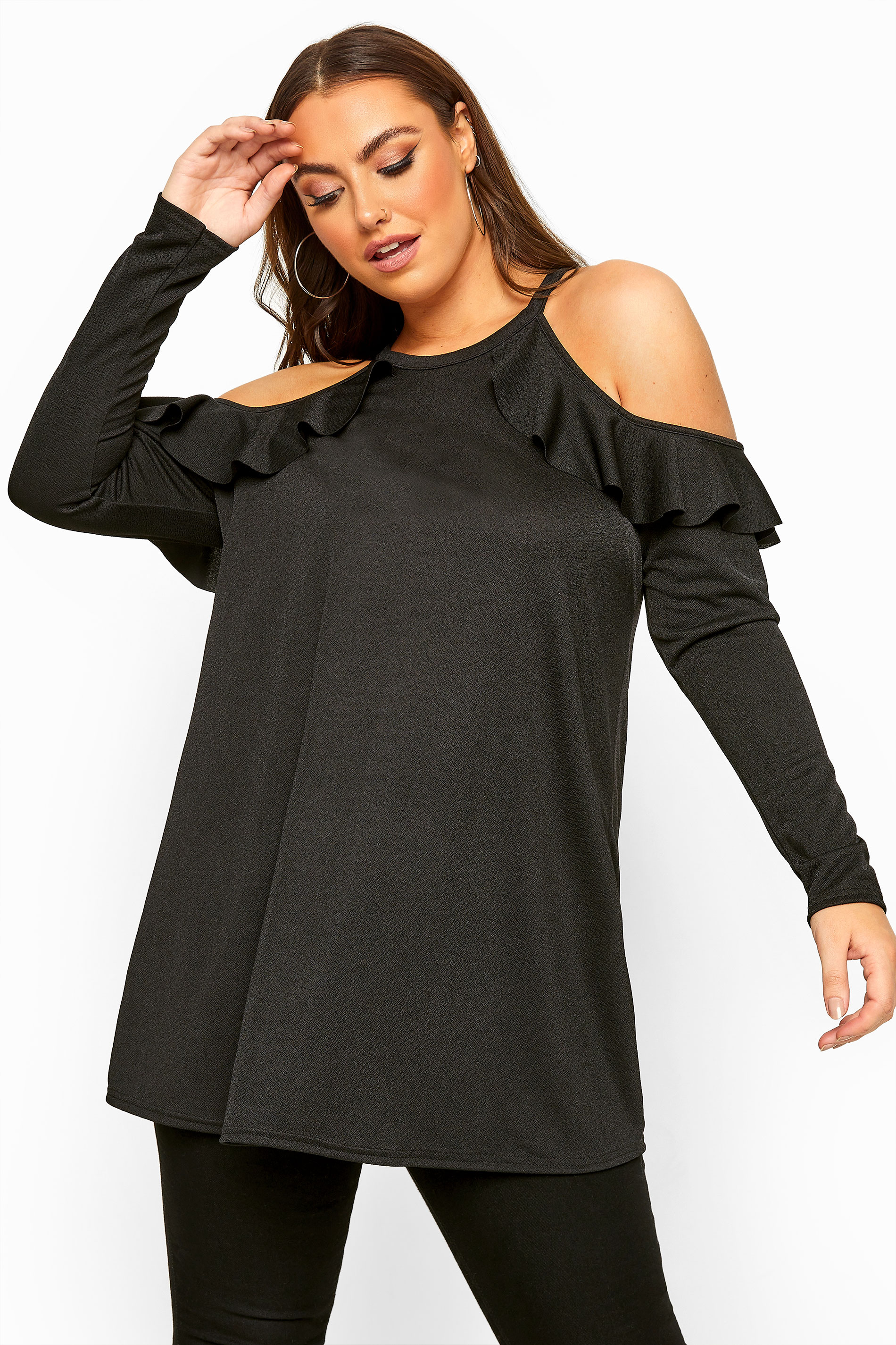 LIMITED COLLECTION Black Cold Shoulder Frill Scuba Top