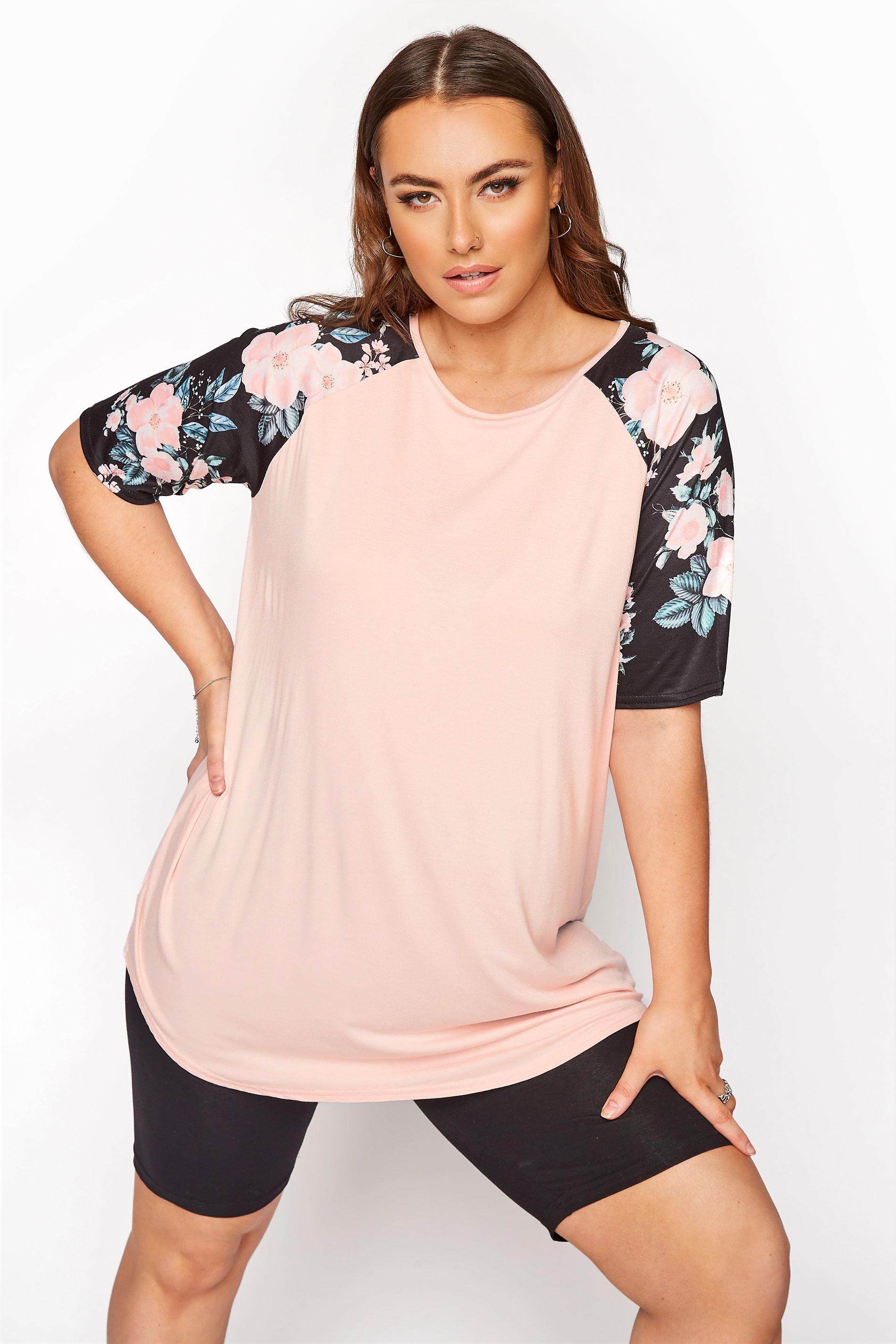 Pink Floral Raglan Sleeve Top