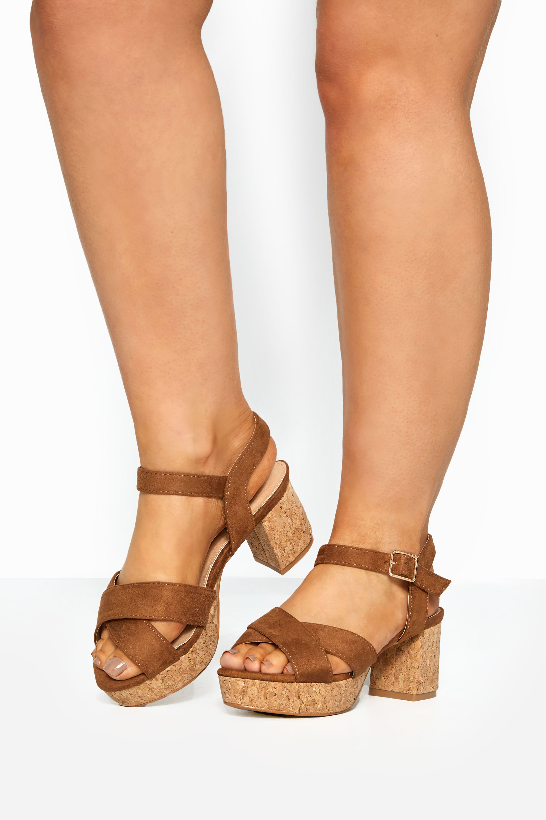 LIMITED COLLECTION Brown Cork Heeled Platform Sandals In Extra Wide Fit