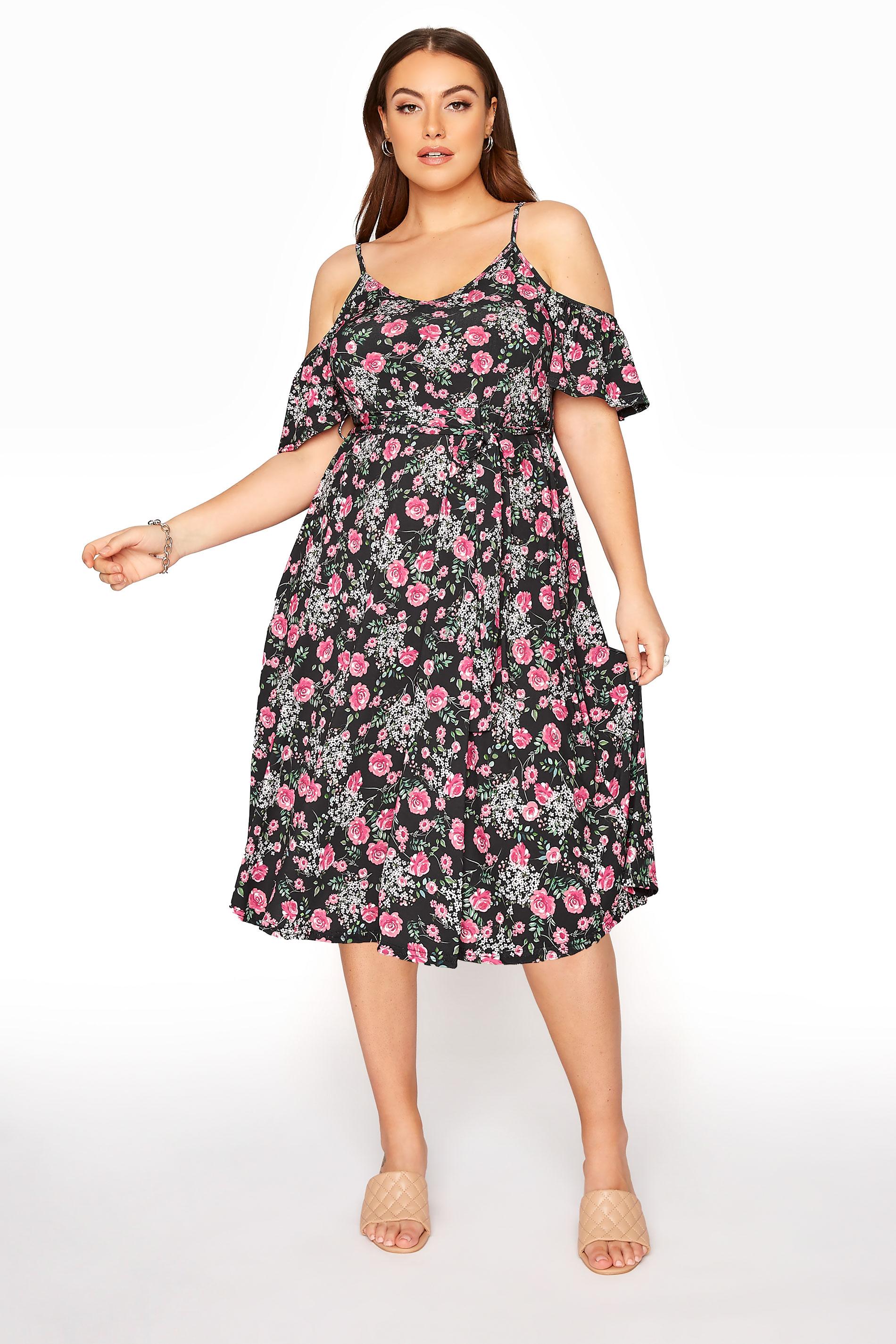 YOURS LONDON Black Floral Cold Shoulder Midi Dress