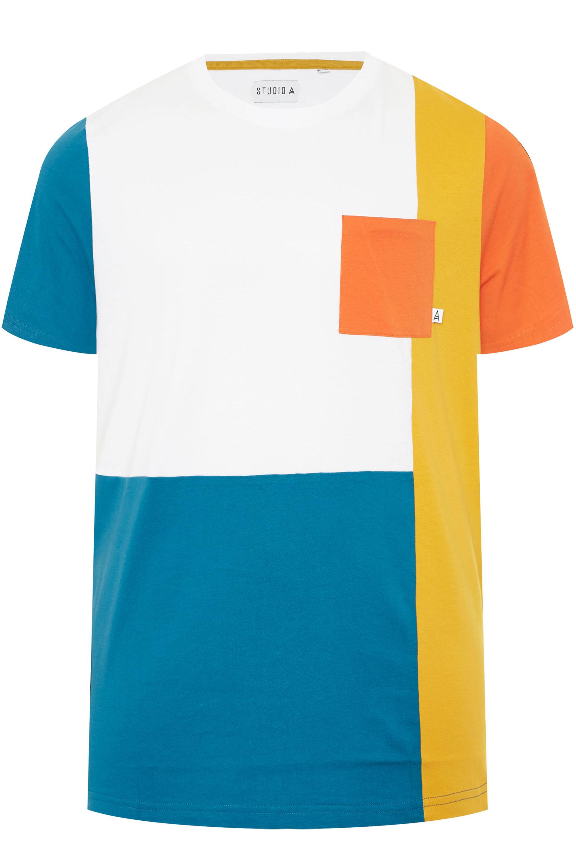STUDIO A White Colour Block T-Shirt