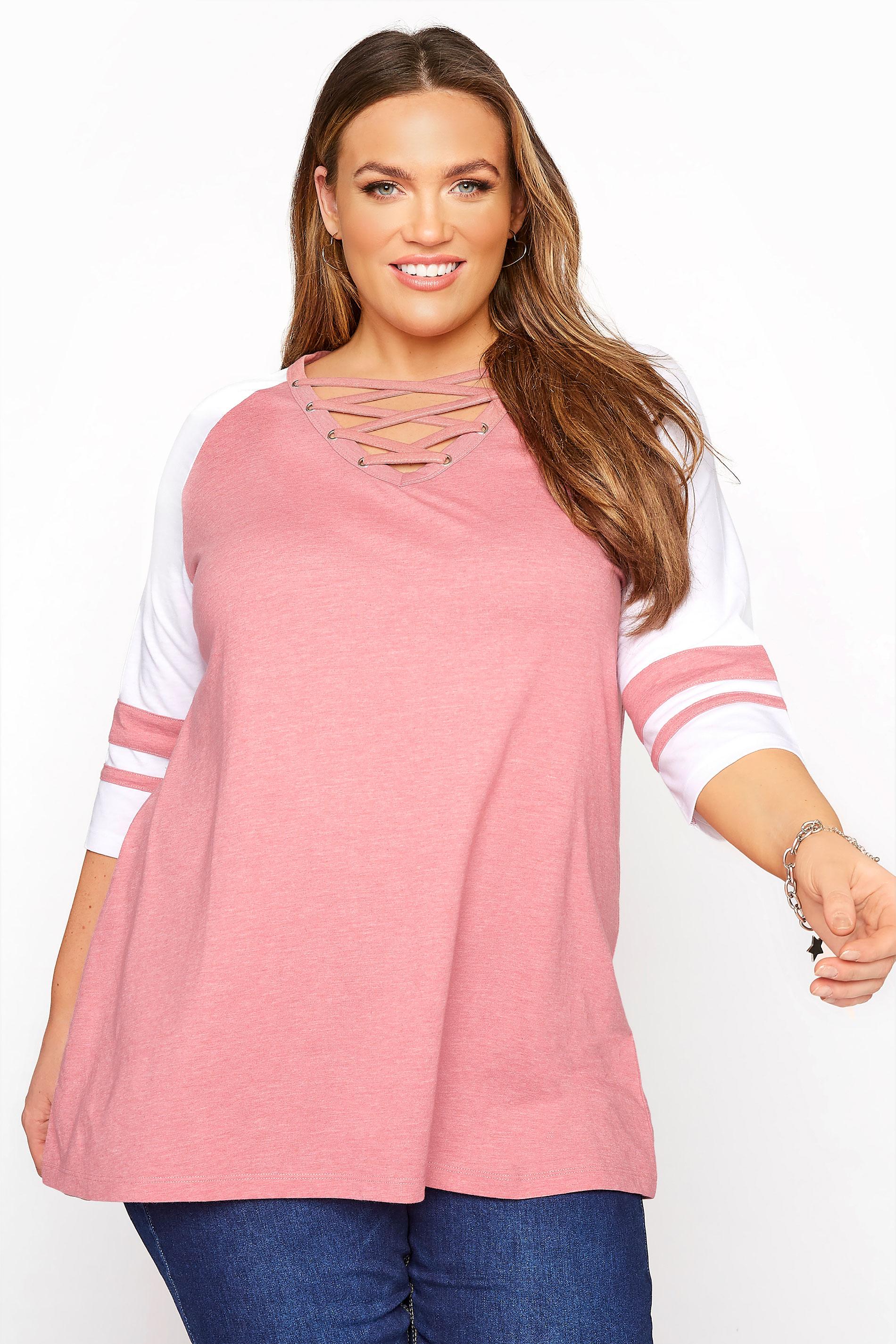 Pink Marl Varsity Lattice Top