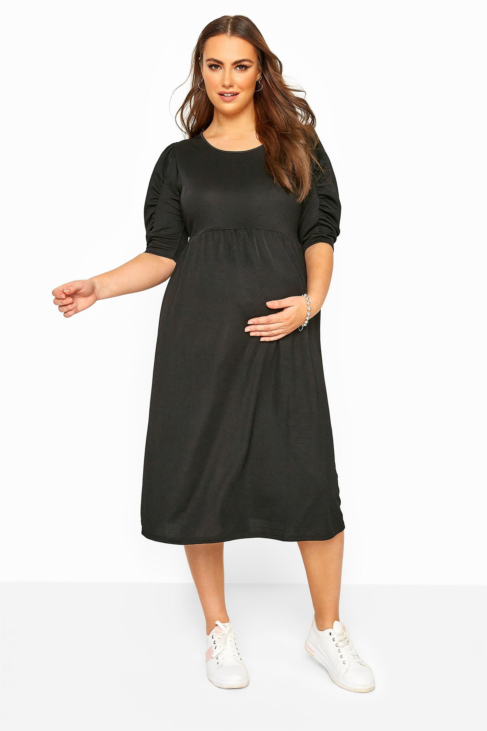 BUMP IT UP MATERNITY Black Jersey Smock Midi Dress