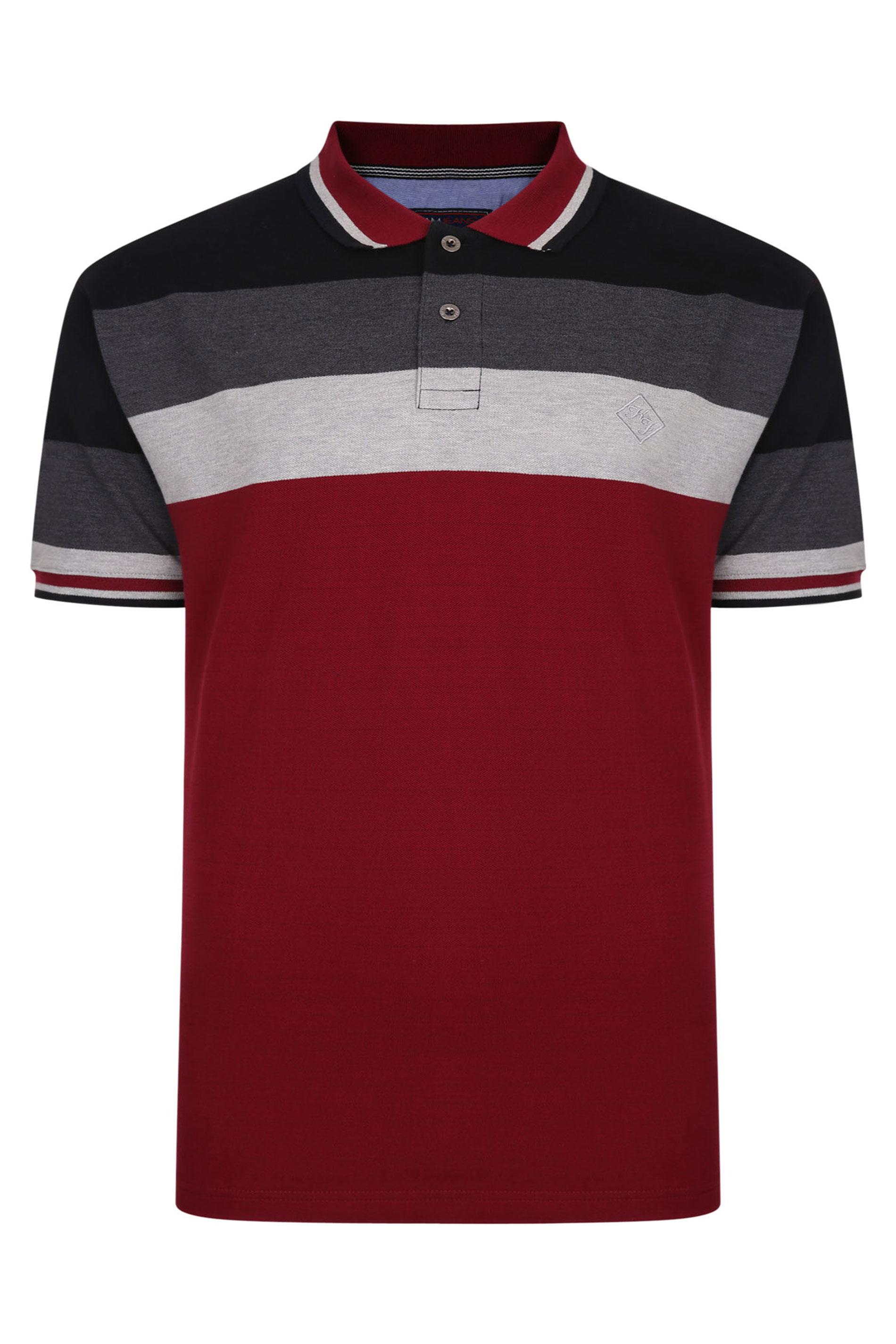 KAM Red Contrast Engineered Polo Shirt_F.jpg