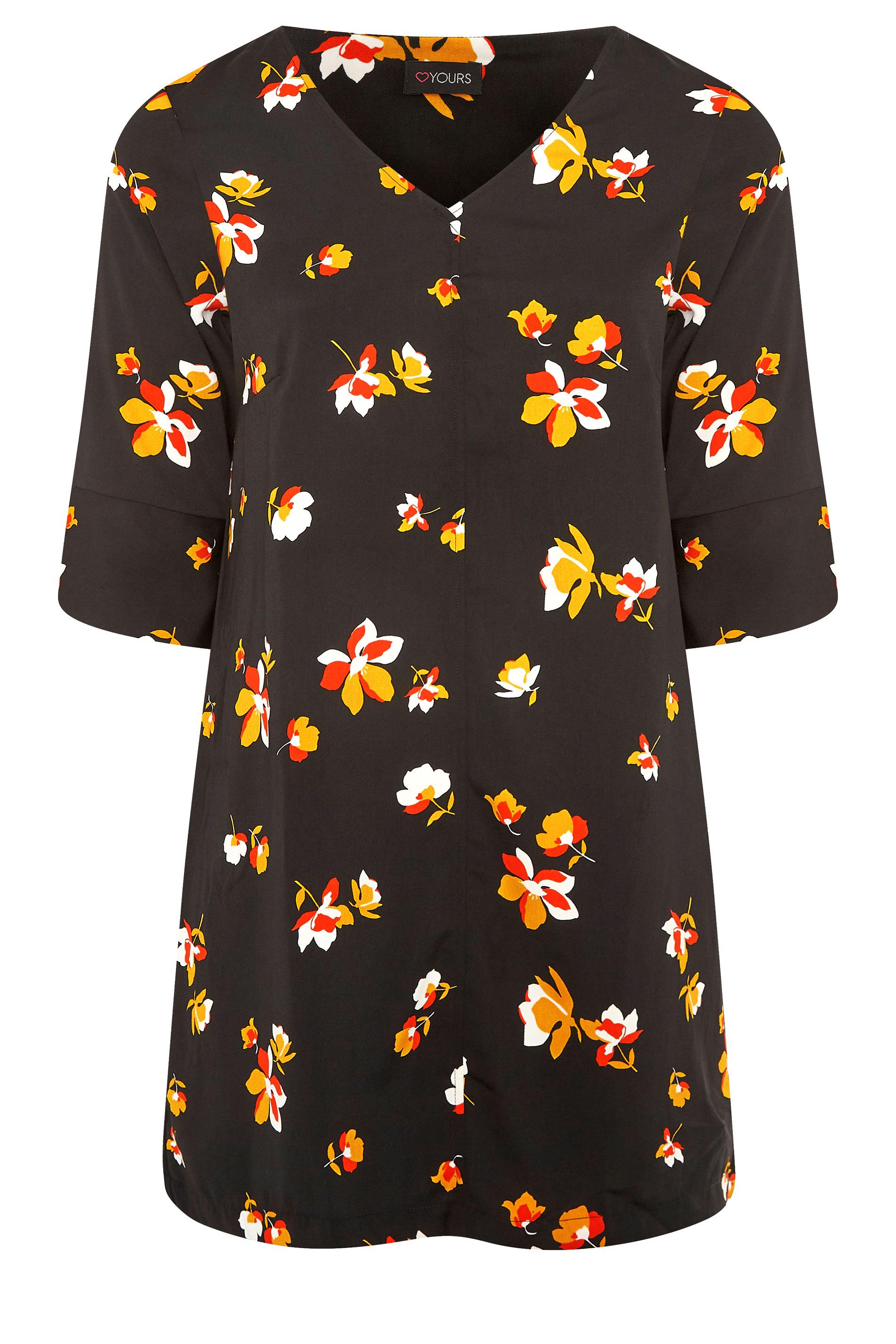 Black Floral V-Neck Shift Dress_F.jpg