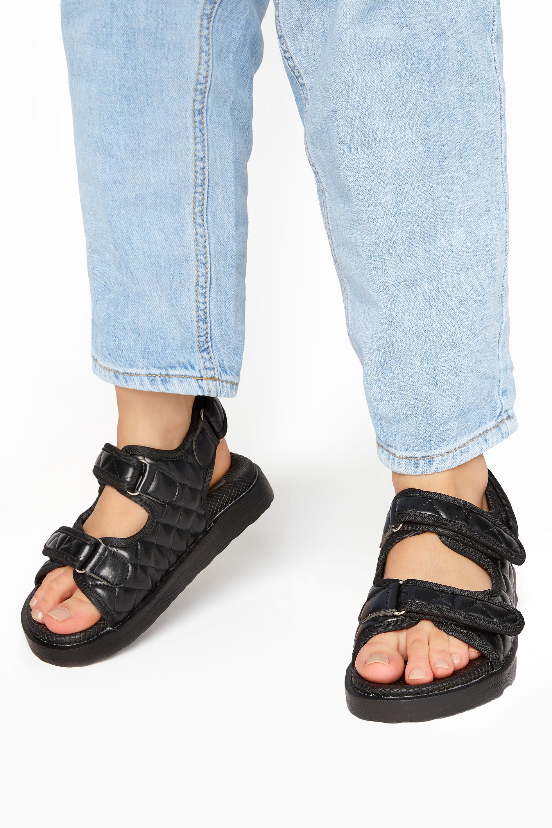 Black Quilted Velcro Sandal_M.jpg