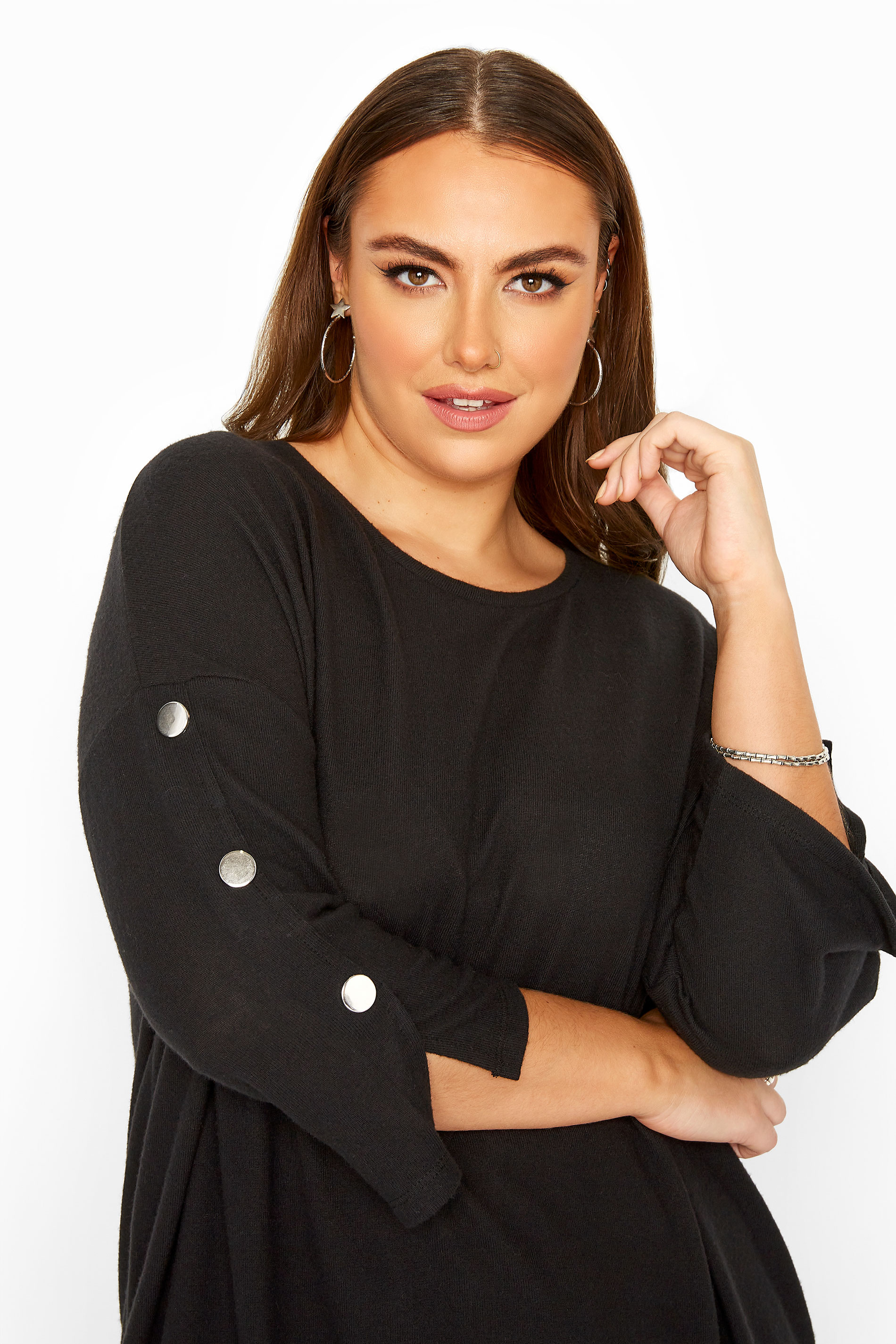 Black Mock Button Soft Knitted Top