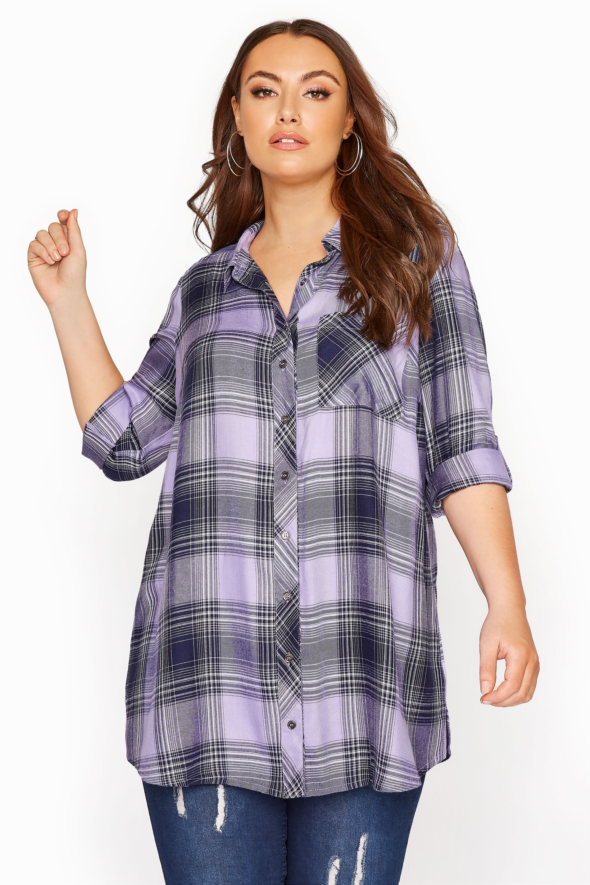 Lilac Check Boyfriend Shirt