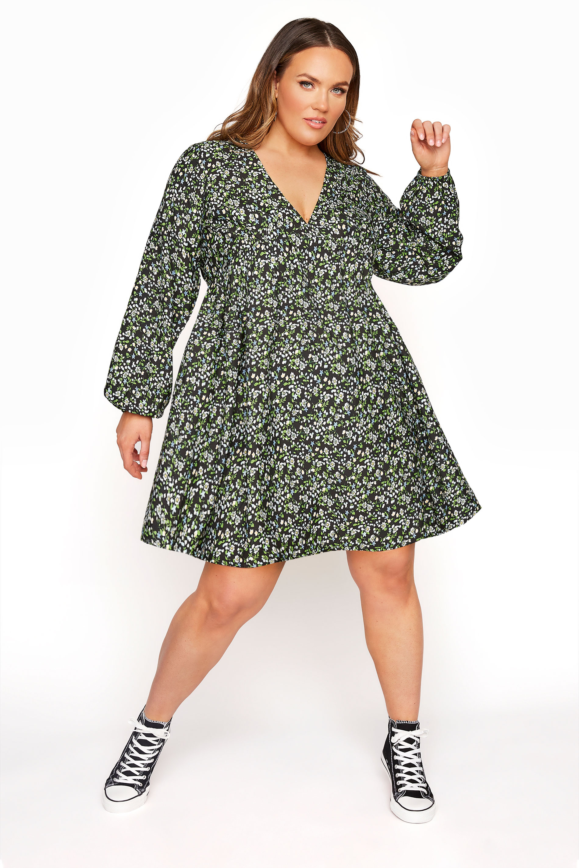 LIMITED COLLECTION Black & Green Ditsy Tea Dress_A.jpg