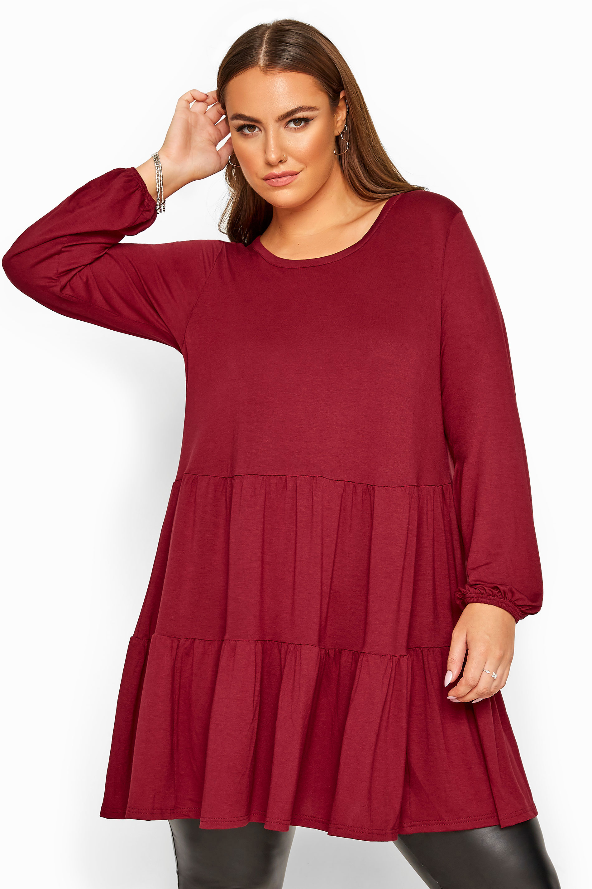 Berry Balloon Sleeve Tiered Smock Tunic