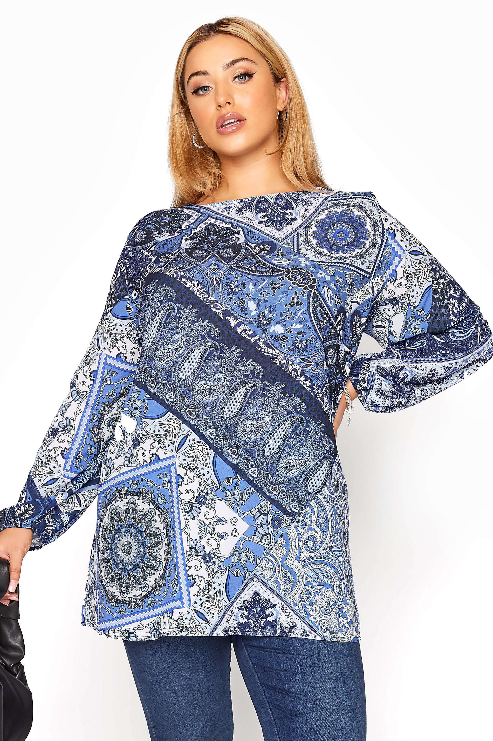 YOURS LONDON Blue Paisley Scarf Print Blouse_A.jpg