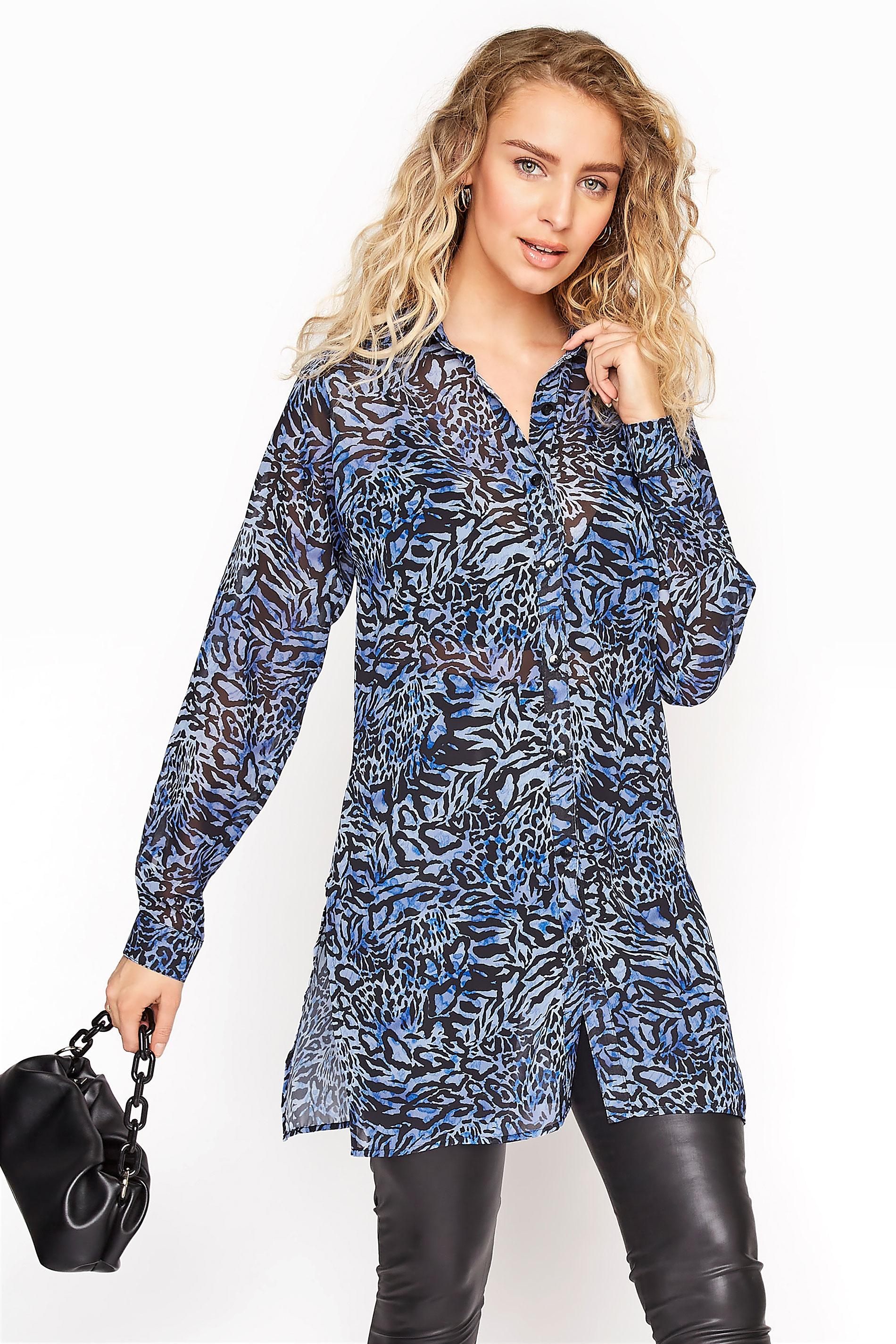 LTS Blue Mixed Animal Longline Chiffon Shirt