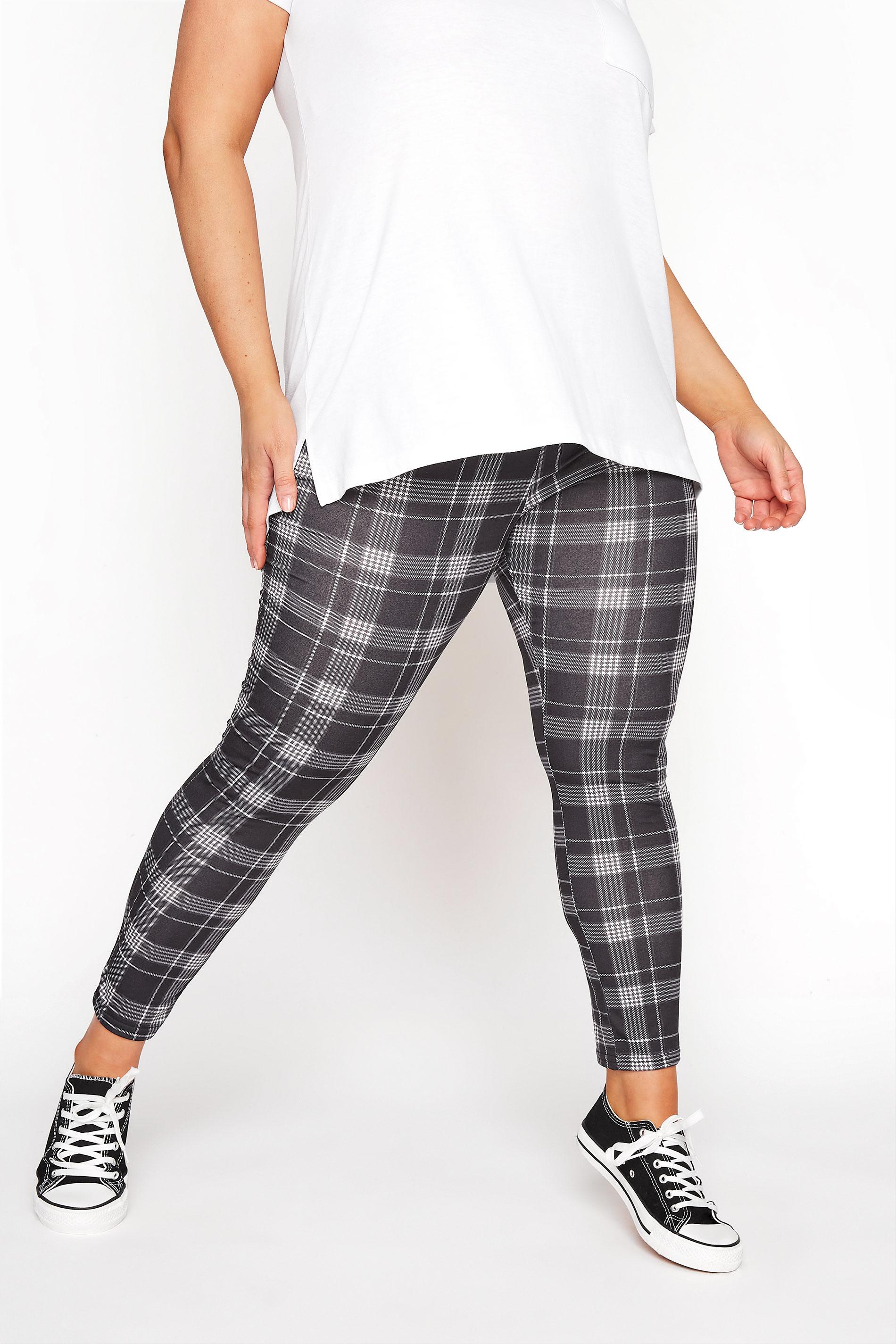Black Check Jersey Leggings
