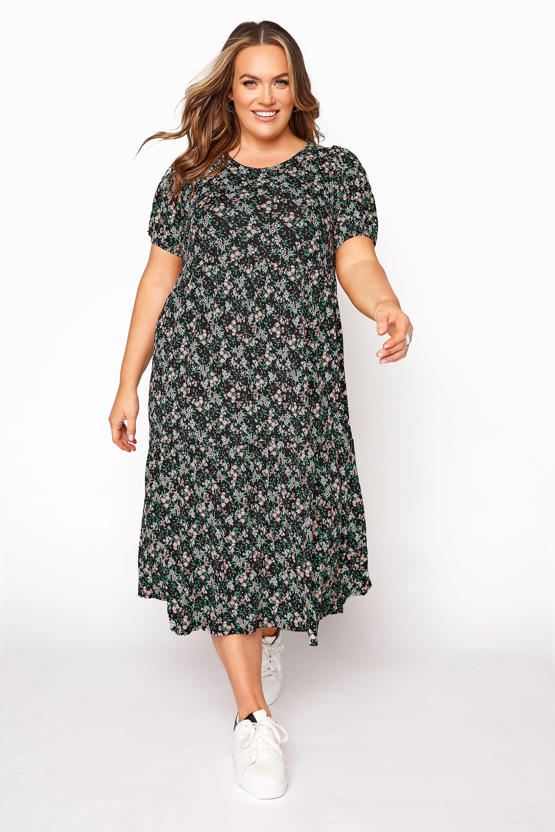 Black Floral Puff Sleeve Midaxi Dress_A.jpg