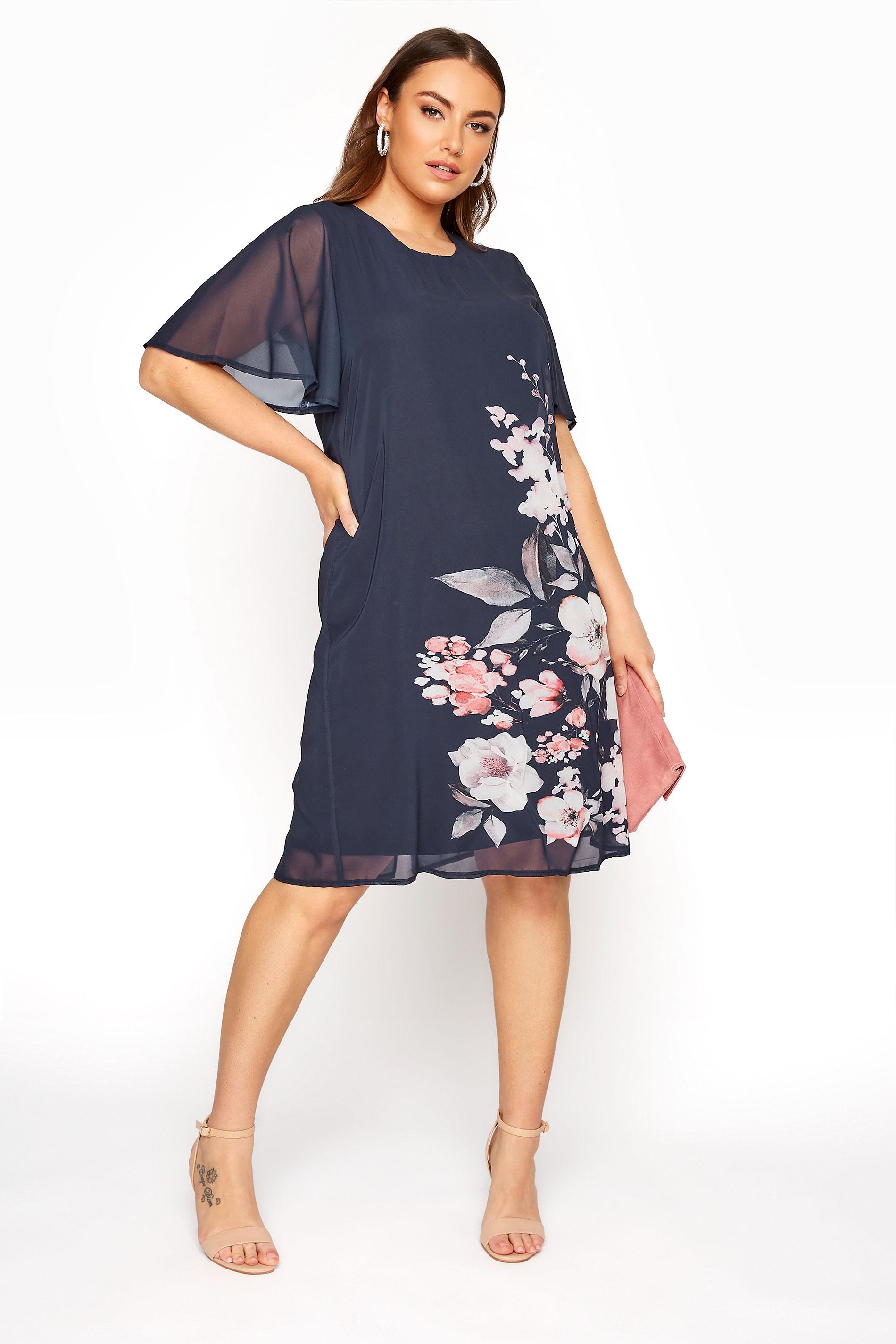Navy Short Angel Sleeve Floral Dress