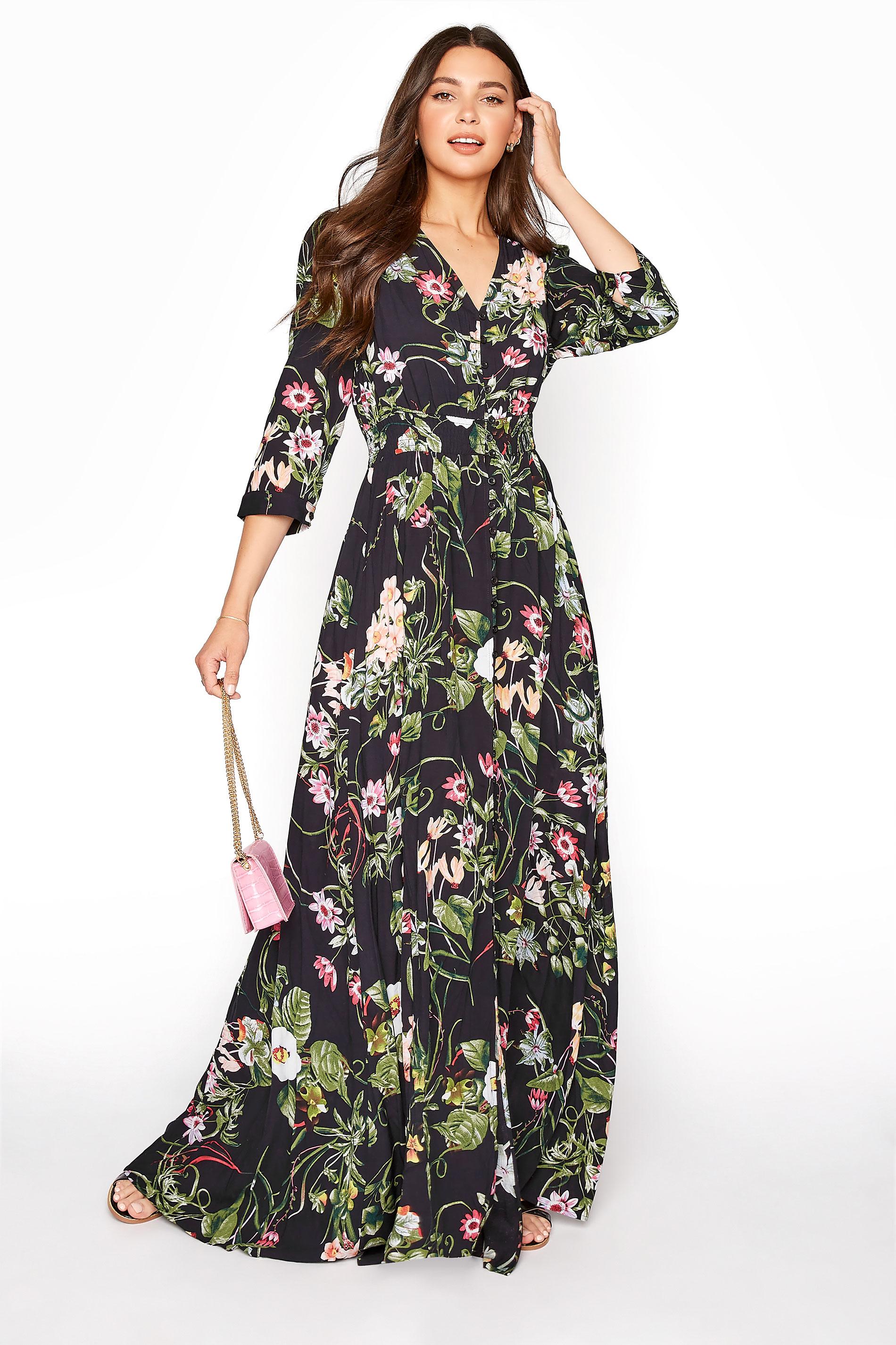 LTS Black Floral Maxi Dress