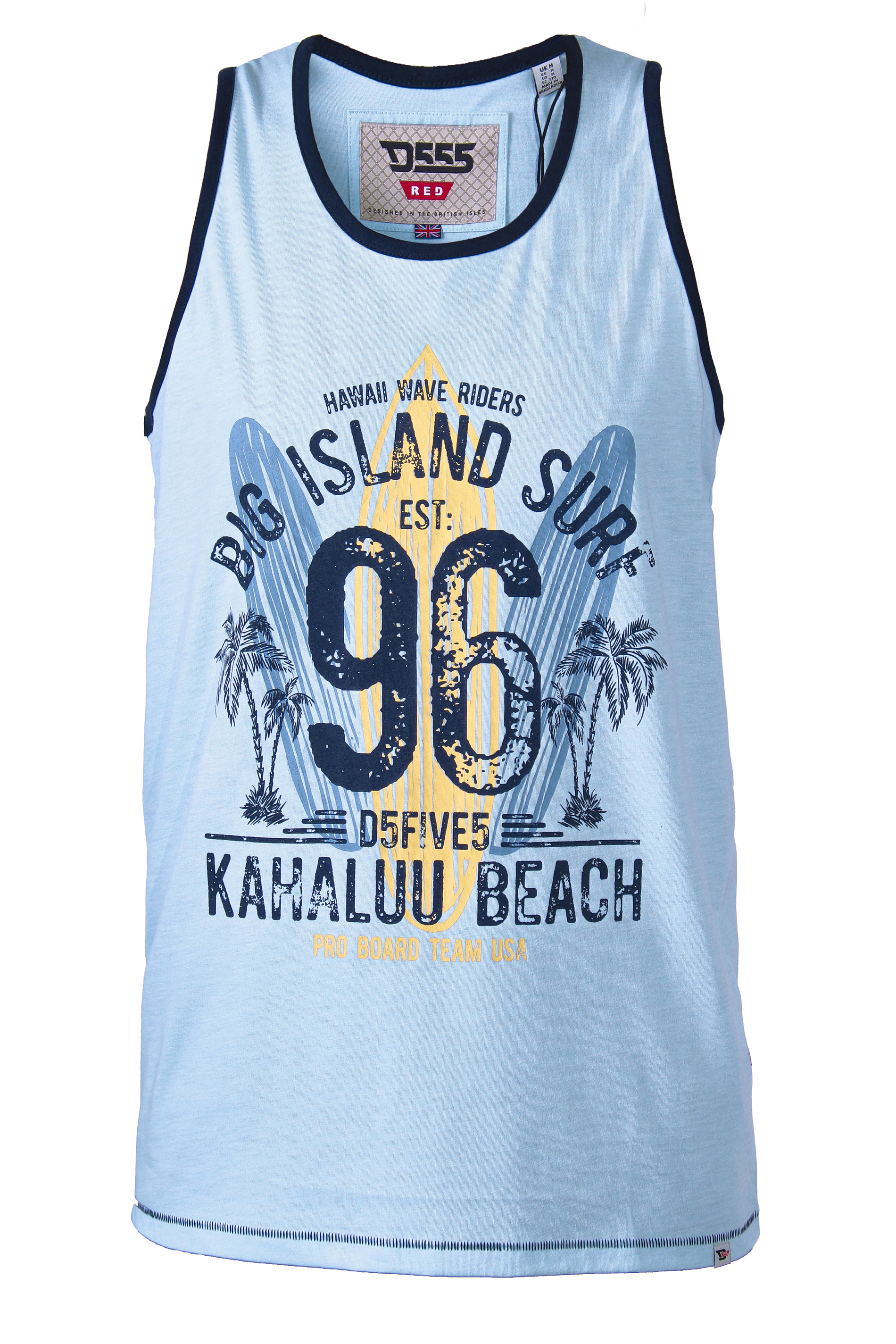D555 Blue Hawaii Surf Board Printed Vest