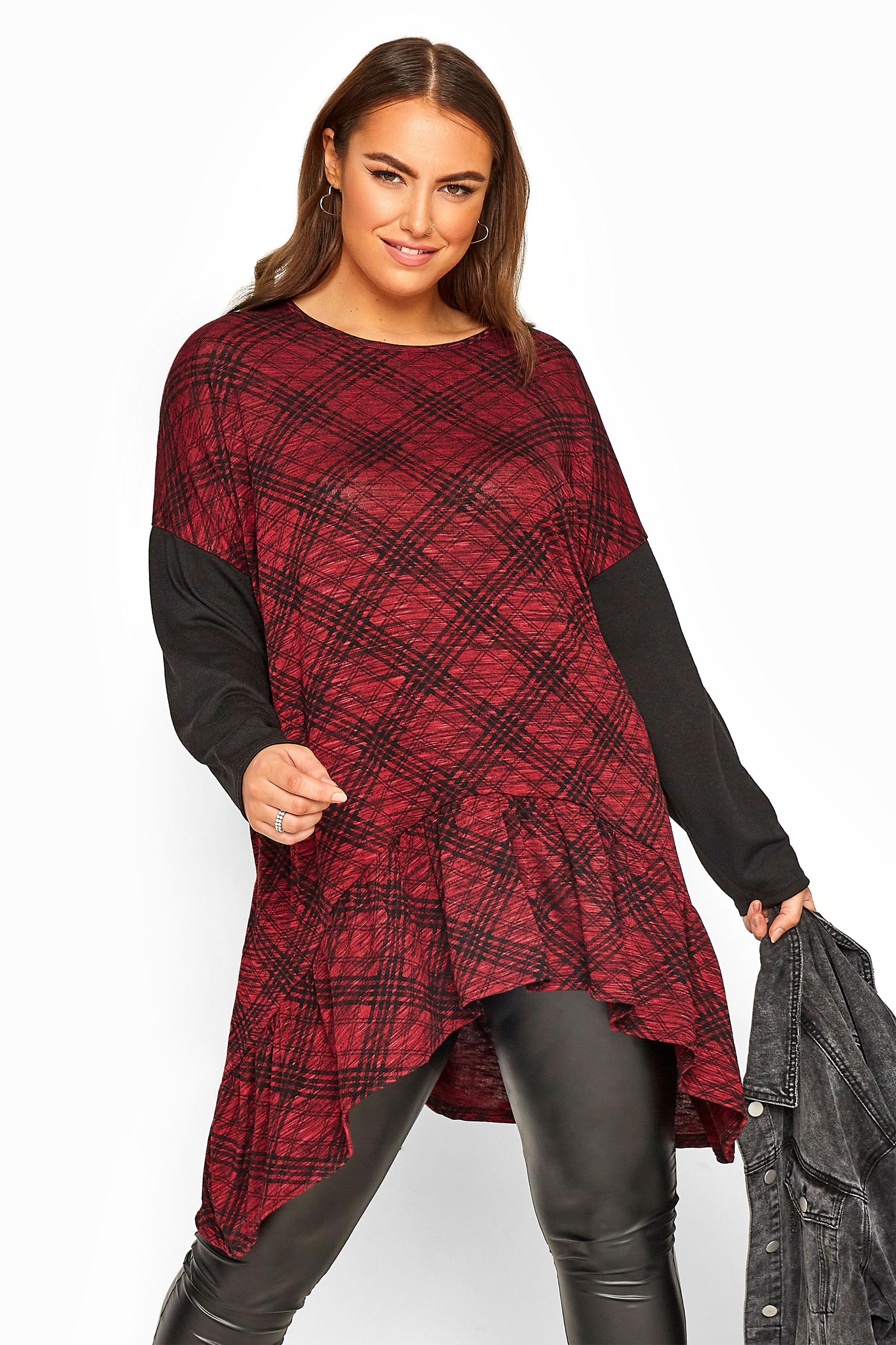Red Check Frill Hanky Hem Top