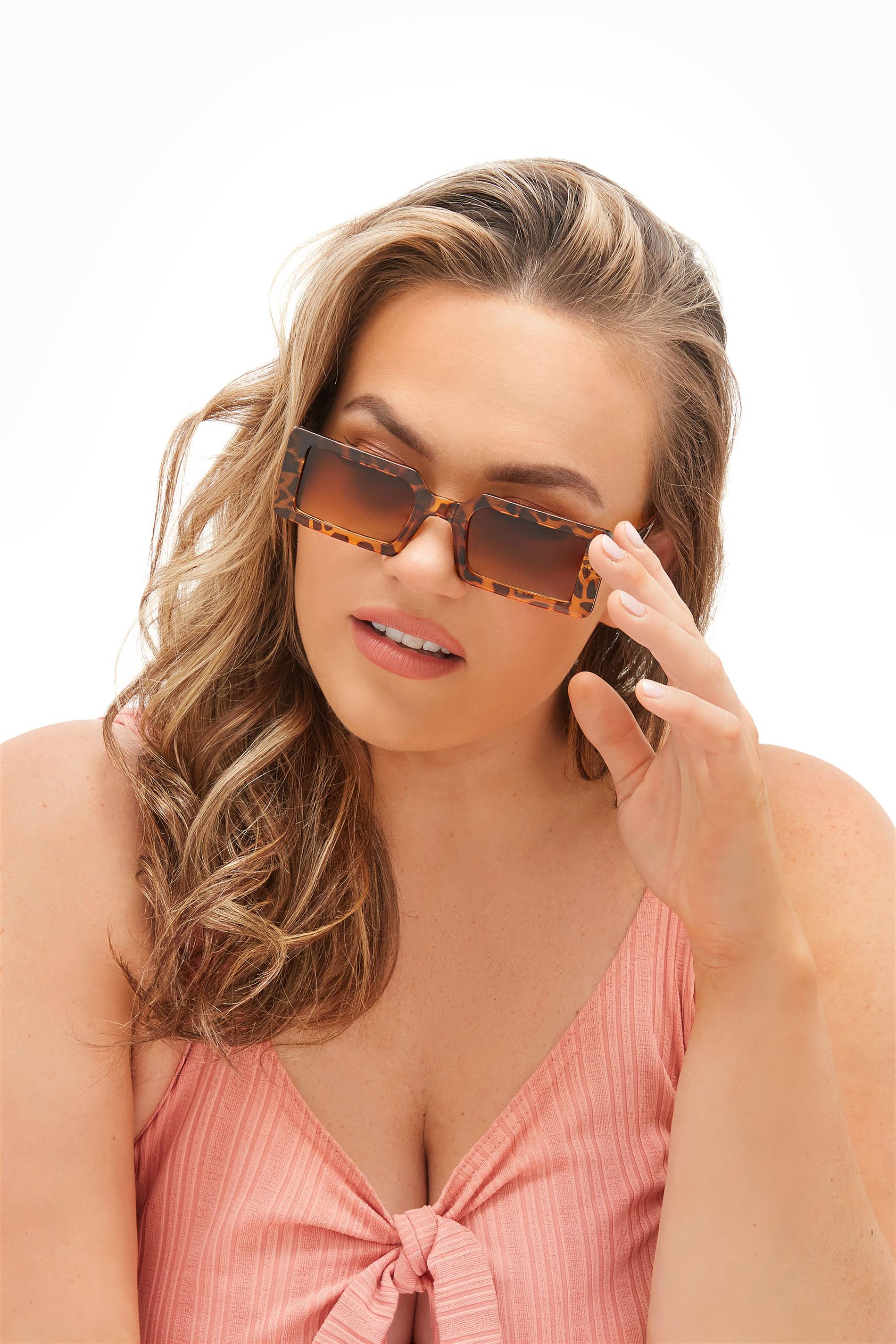 Brown Tortoiseshell Rectangle Frame Sunglasses