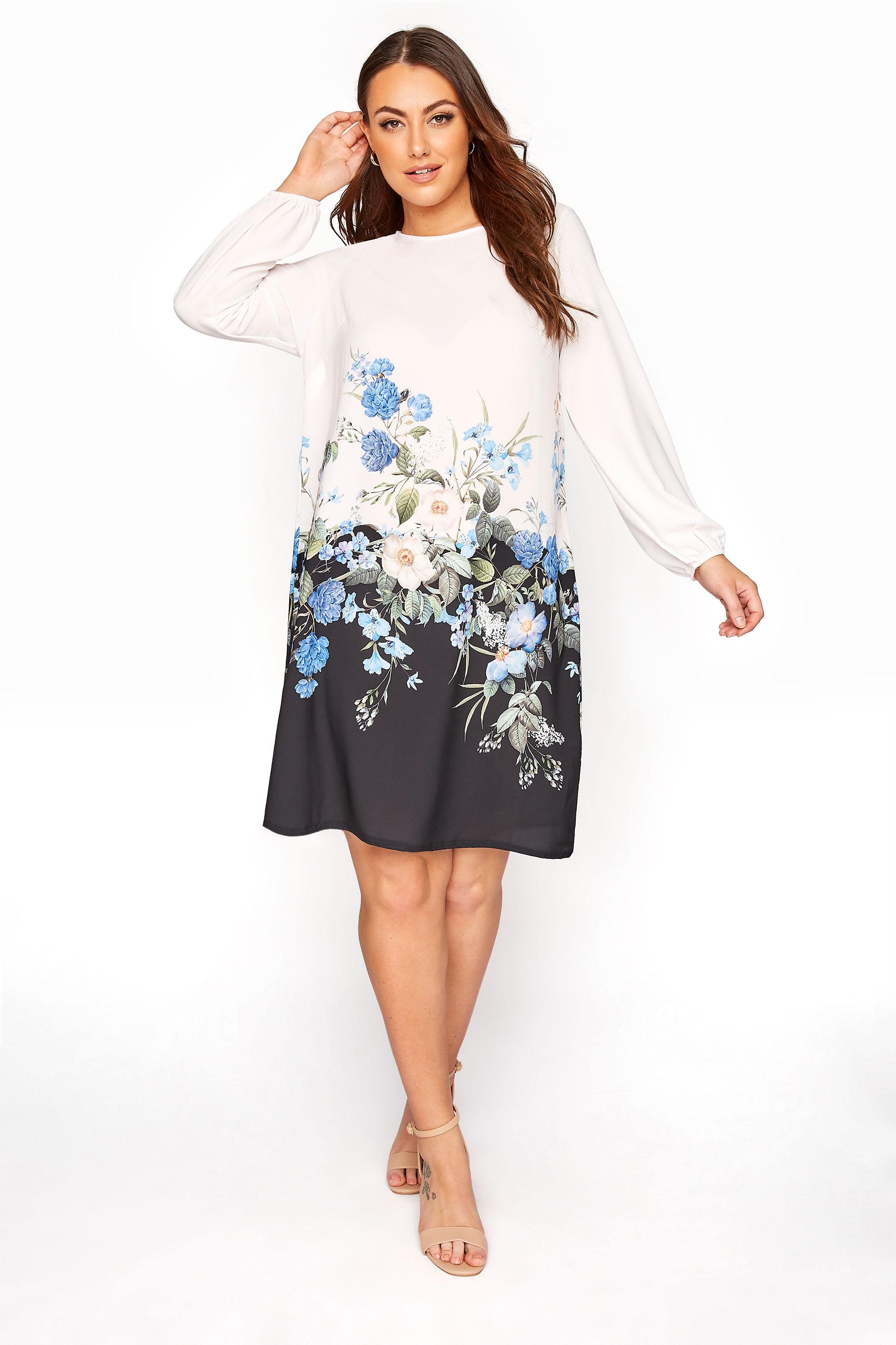 YOURS LONDON White Floral Border Shift Dress