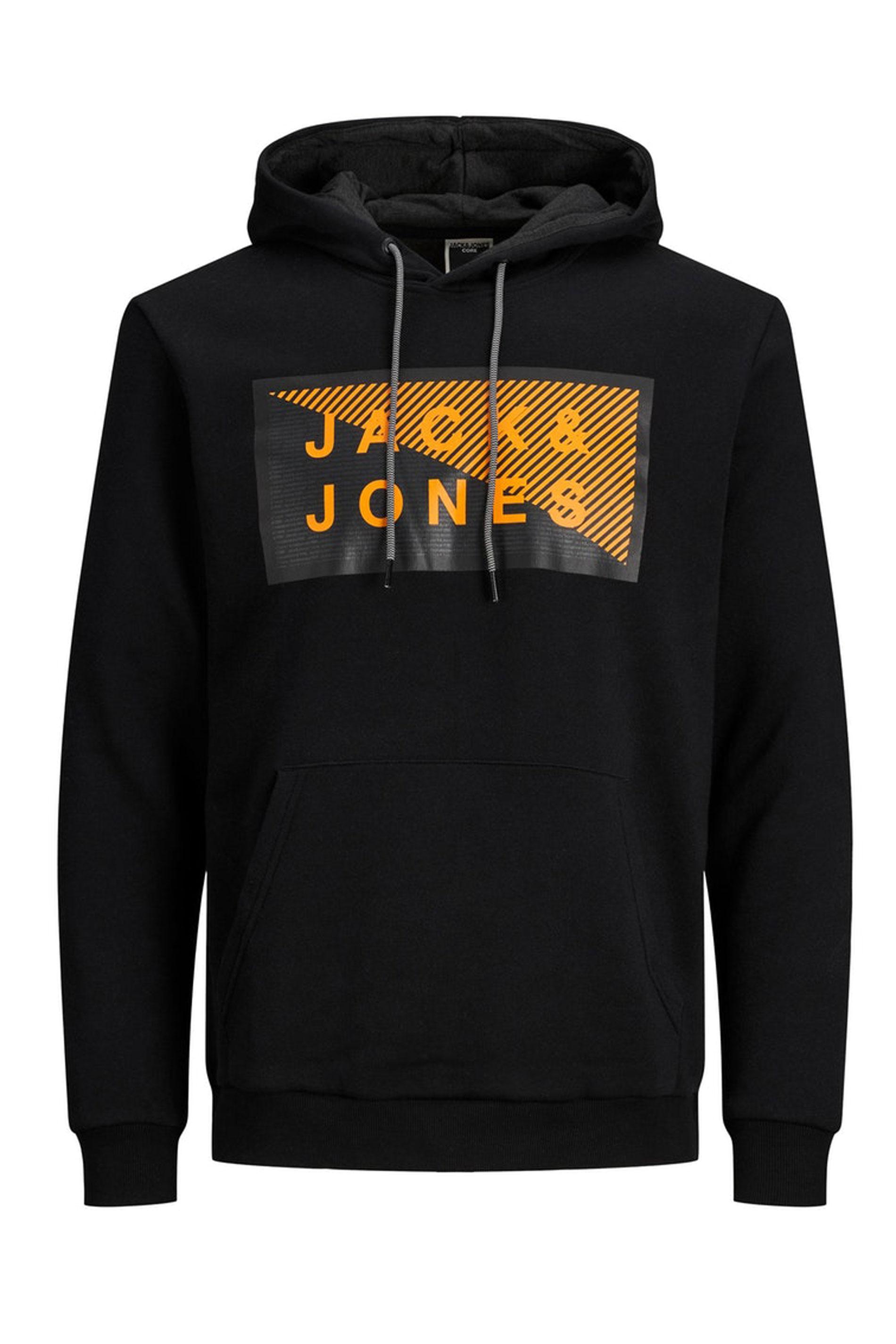 JACK & JONES Black Printed Logo Shawn Hoodie_F.jpg