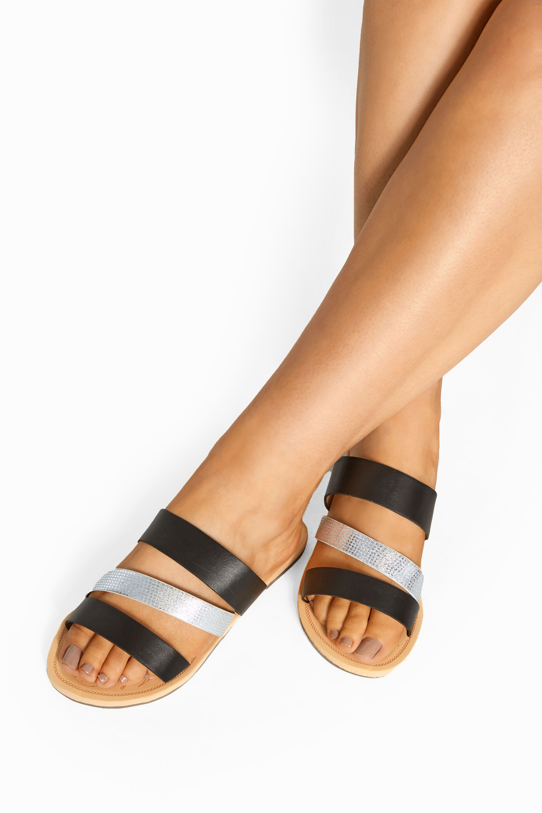 Black Shimmer Strap Slider Sandals In Extra Wide Fit
