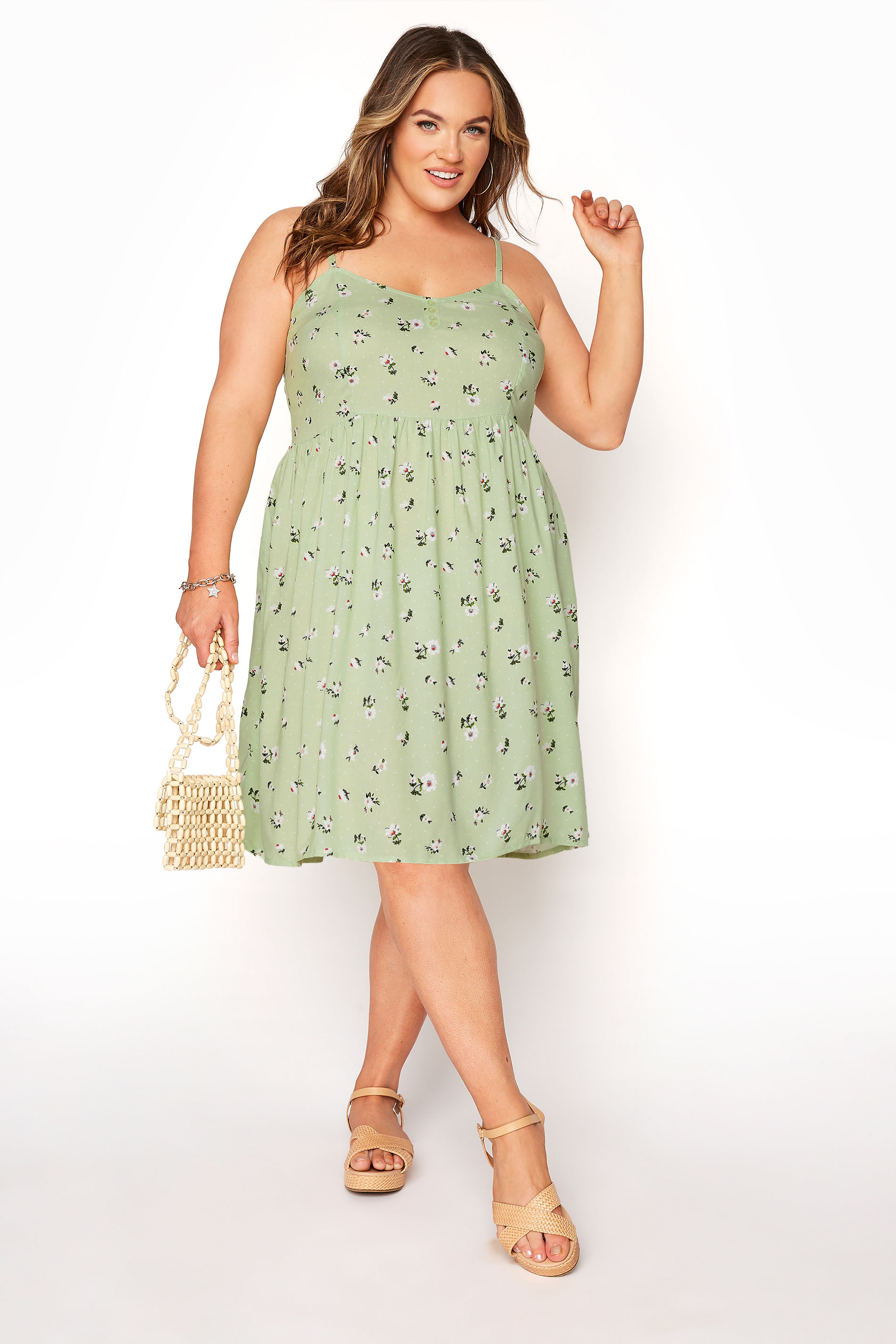Green Ditsy Floral Strappy Dress_B.jpg