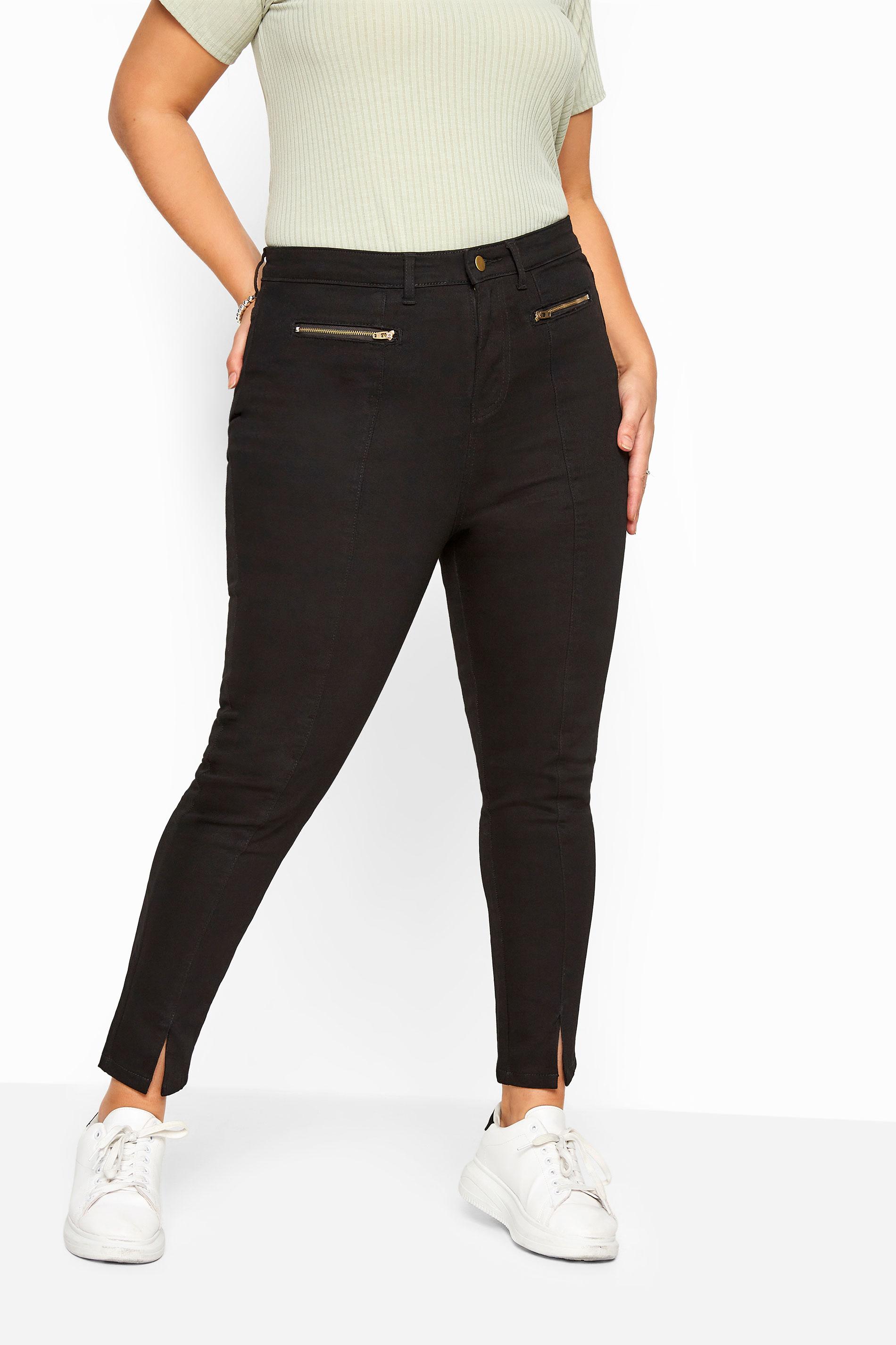 AVA Skinny Stretch-Jeans mit Schlitz am Bein - Schwarz