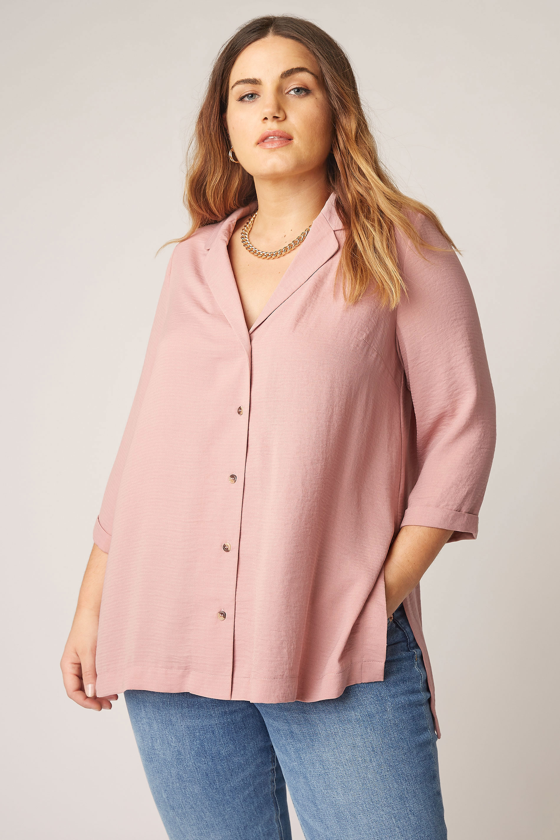 THE LIMITED EDIT Pink Open Collar Blouse_A.jpg