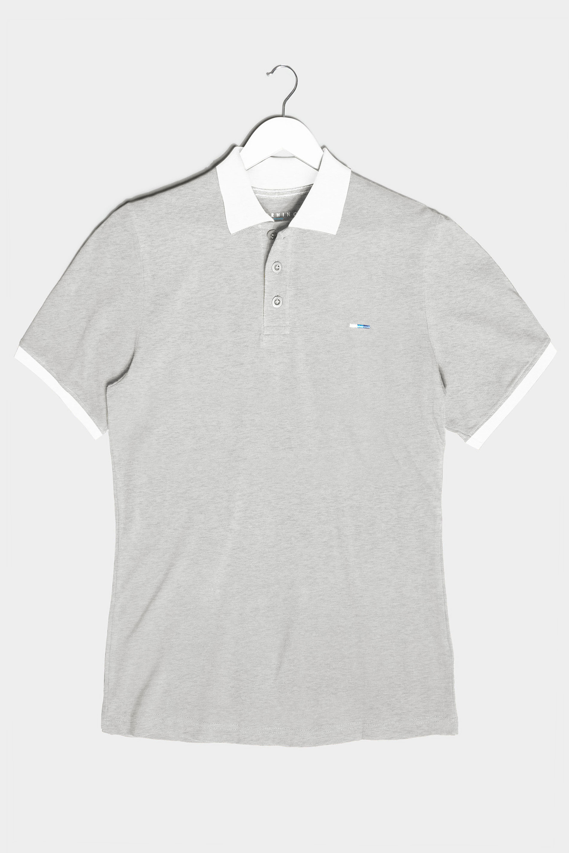 BadRhino Grey & White Contrast Polo Shirt
