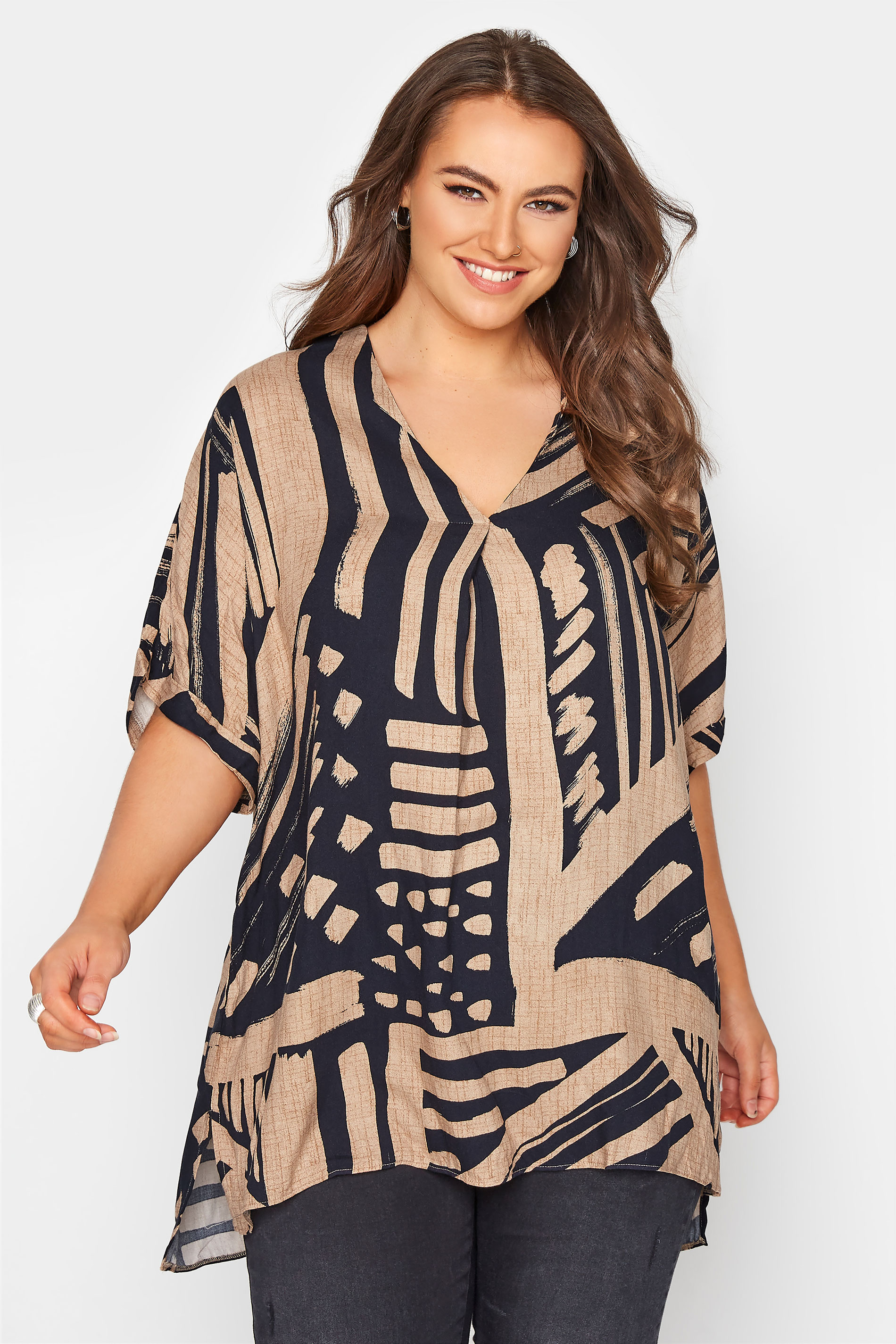 Mocha Brown Abstract V-Neck Pleated Front Shirt_A.jpg