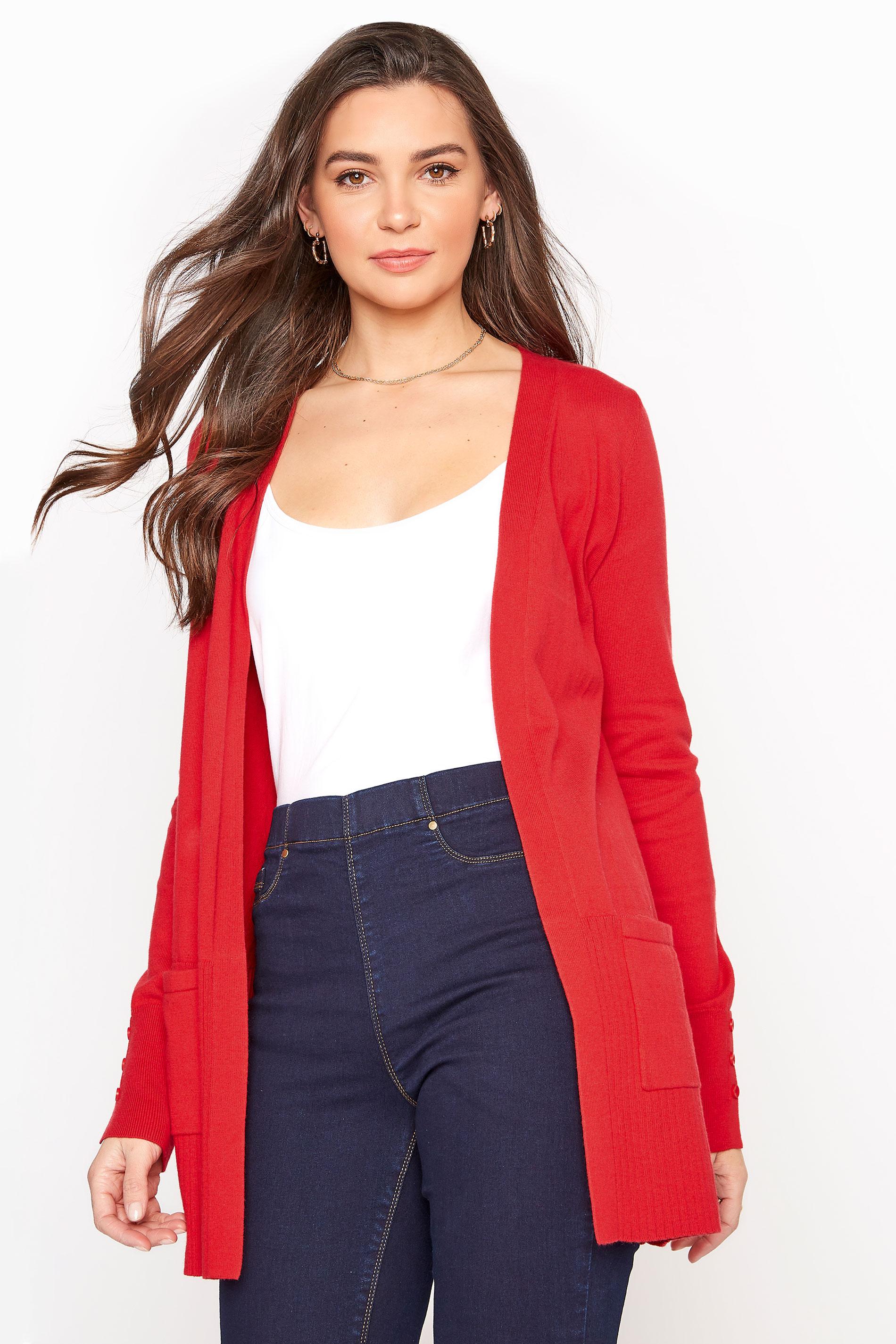 Red Cotton Ribbed Trim Cardigan