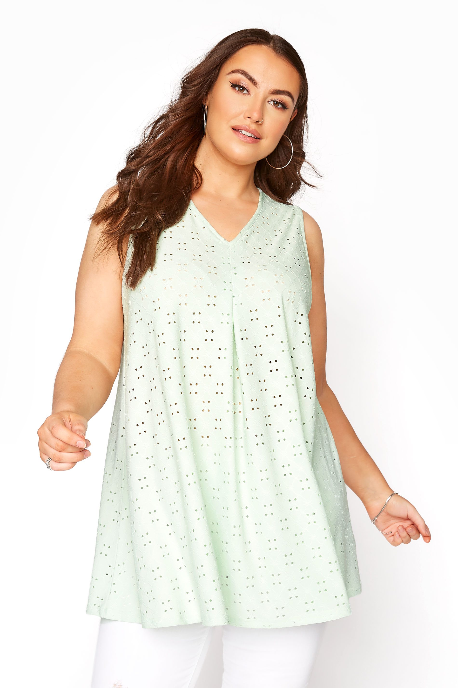 Mint Green Broderie Anglaise Swing Top