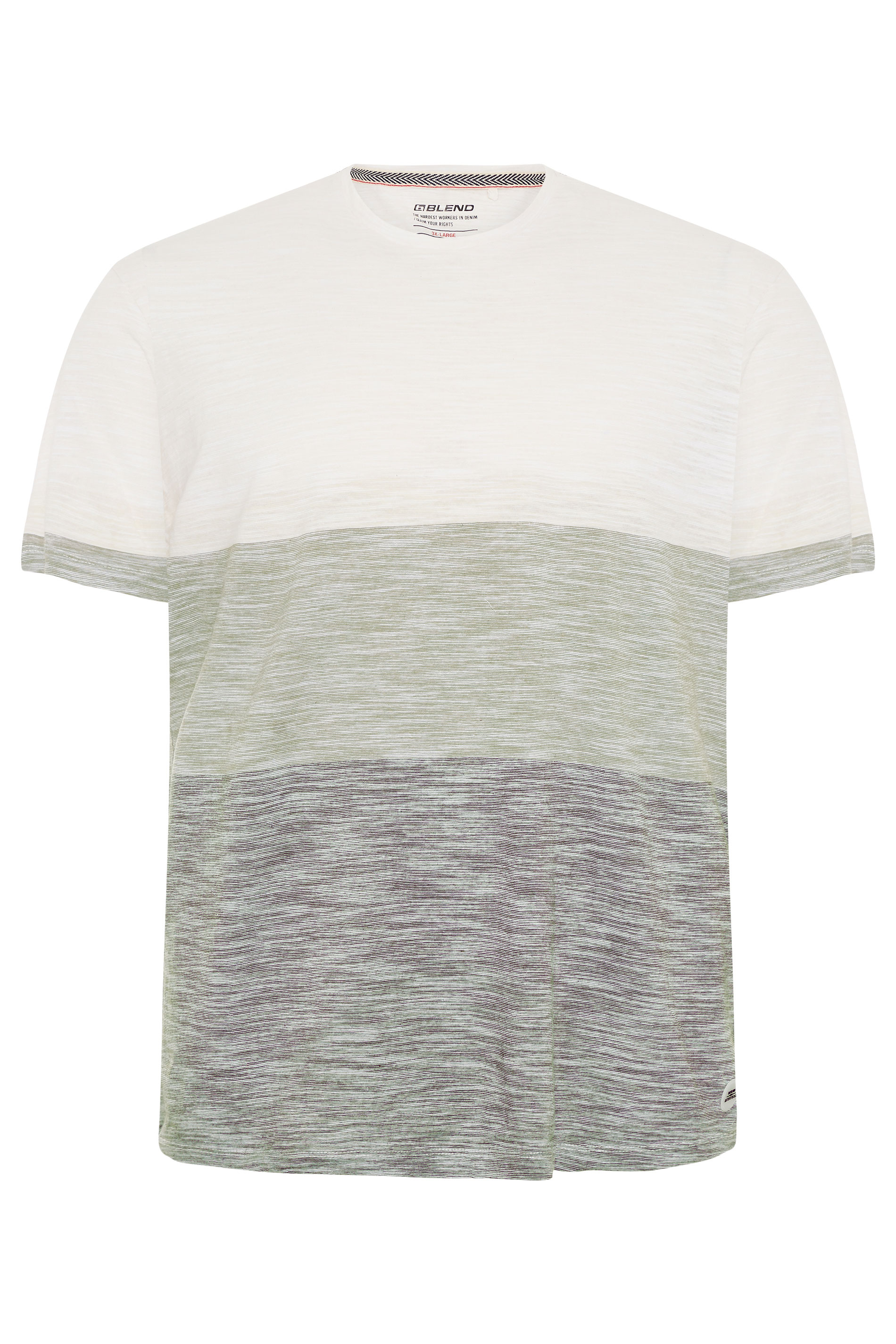 BLEND Graues Colour Block T-Shirt aus Baumwolle